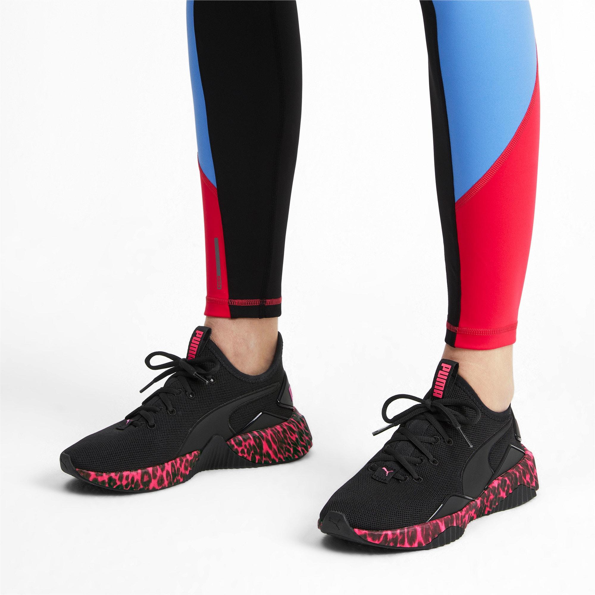 Thumbnail 3 of Defy Leopard Women's Sneakers, Puma Black-Pink Alert, medium