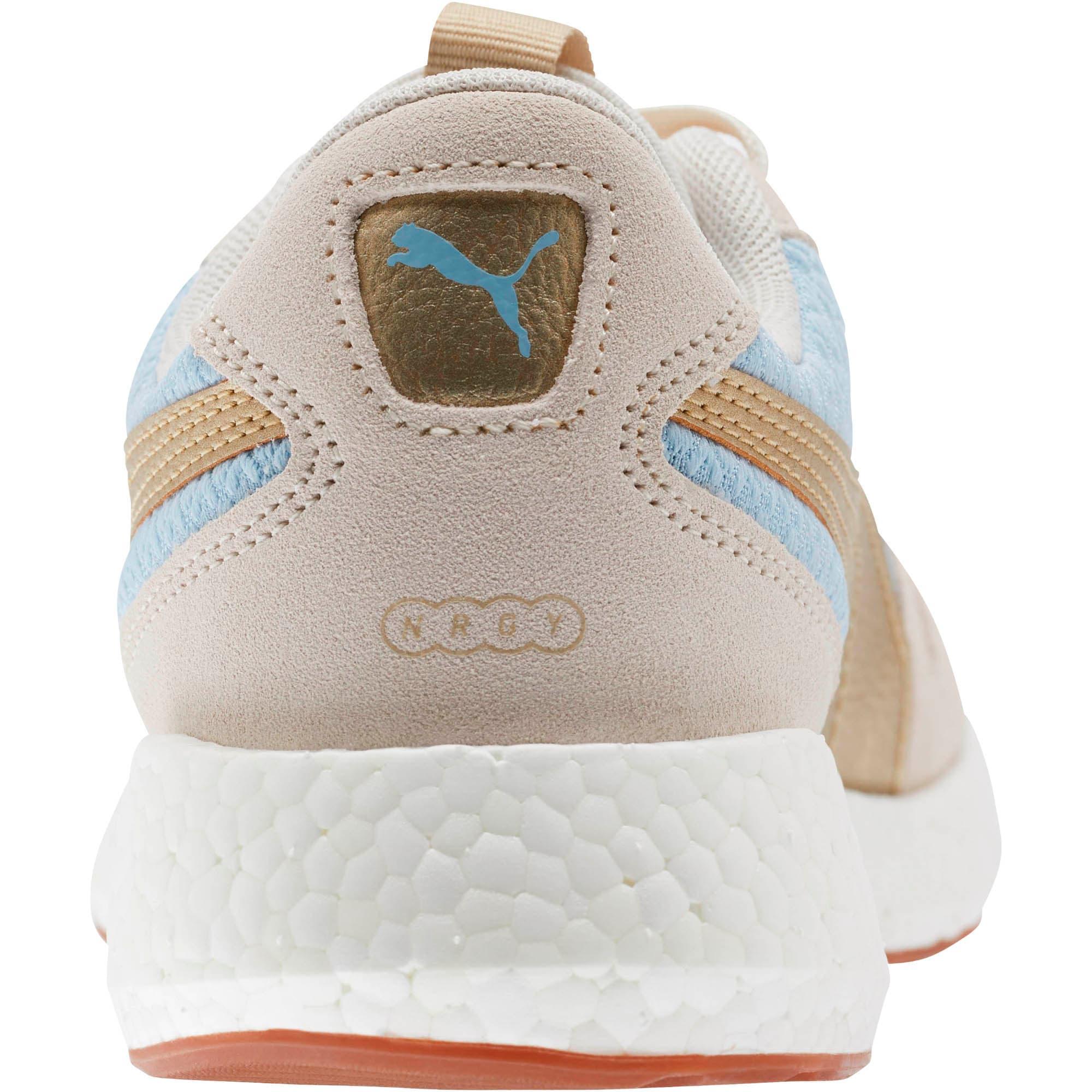 Thumbnail 3 of NRGY Neko Retro Sweet Women's Street Running Shoes, Light Sky- White- Gold, medium