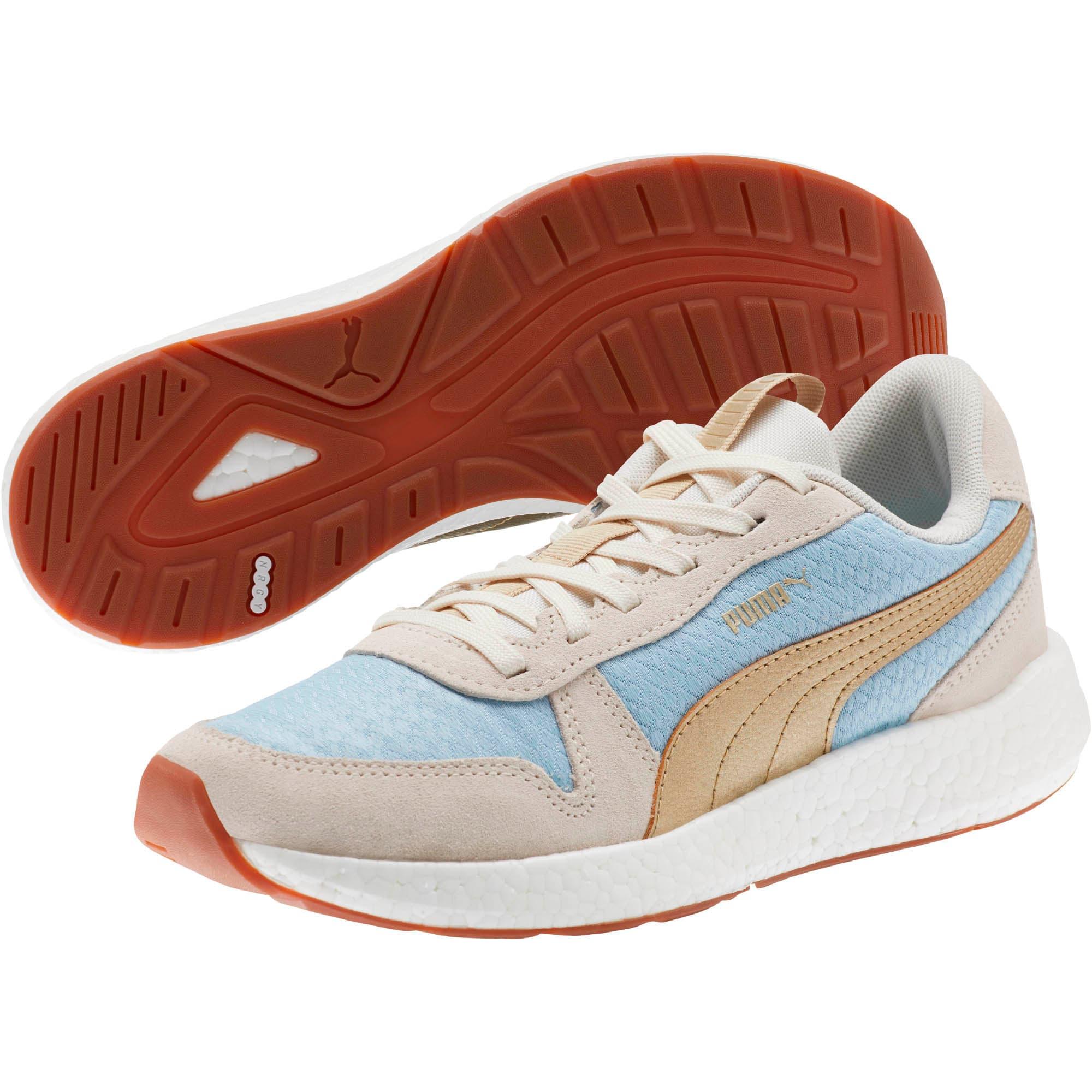 Thumbnail 2 of NRGY Neko Retro Sweet Women's Street Running Shoes, Light Sky- White- Gold, medium