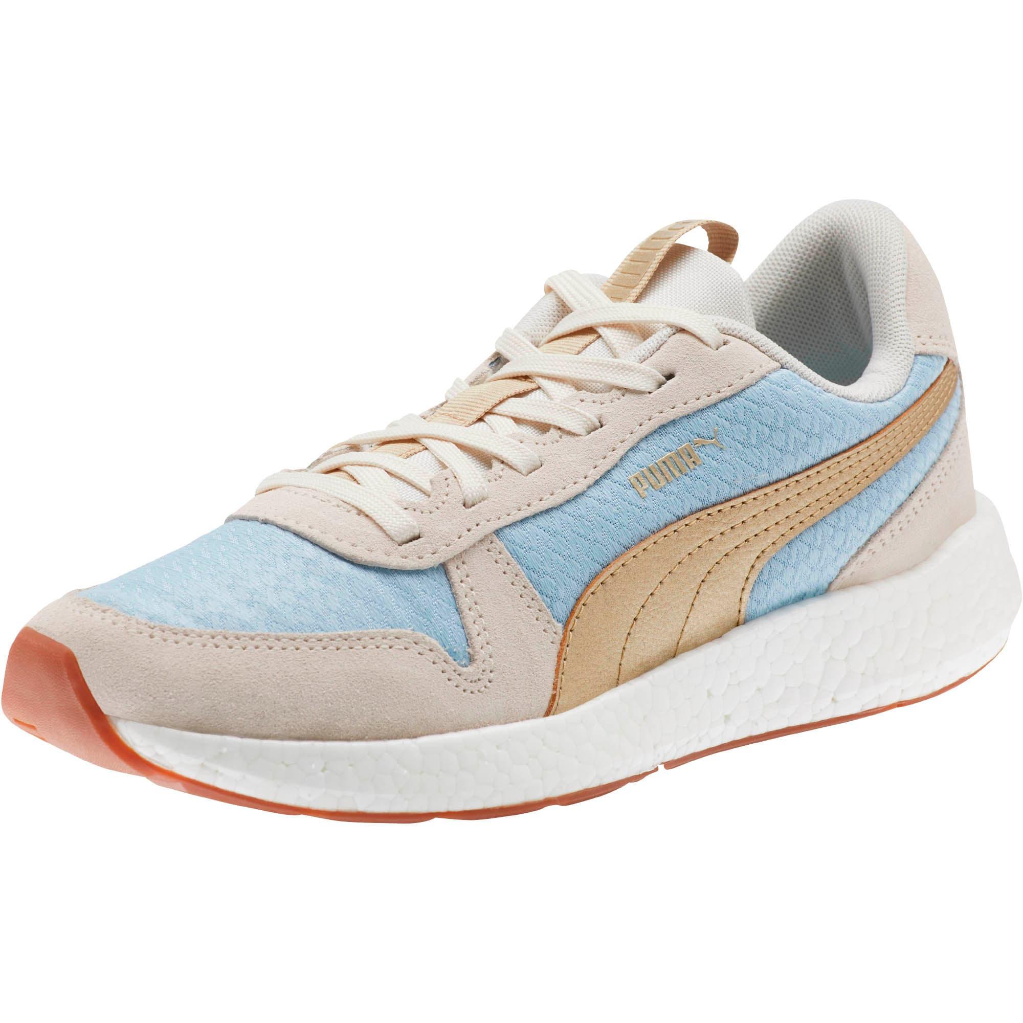Thumbnail 1 of NRGY Neko Retro Sweet Women's Street Running Shoes, Light Sky- White- Gold, medium