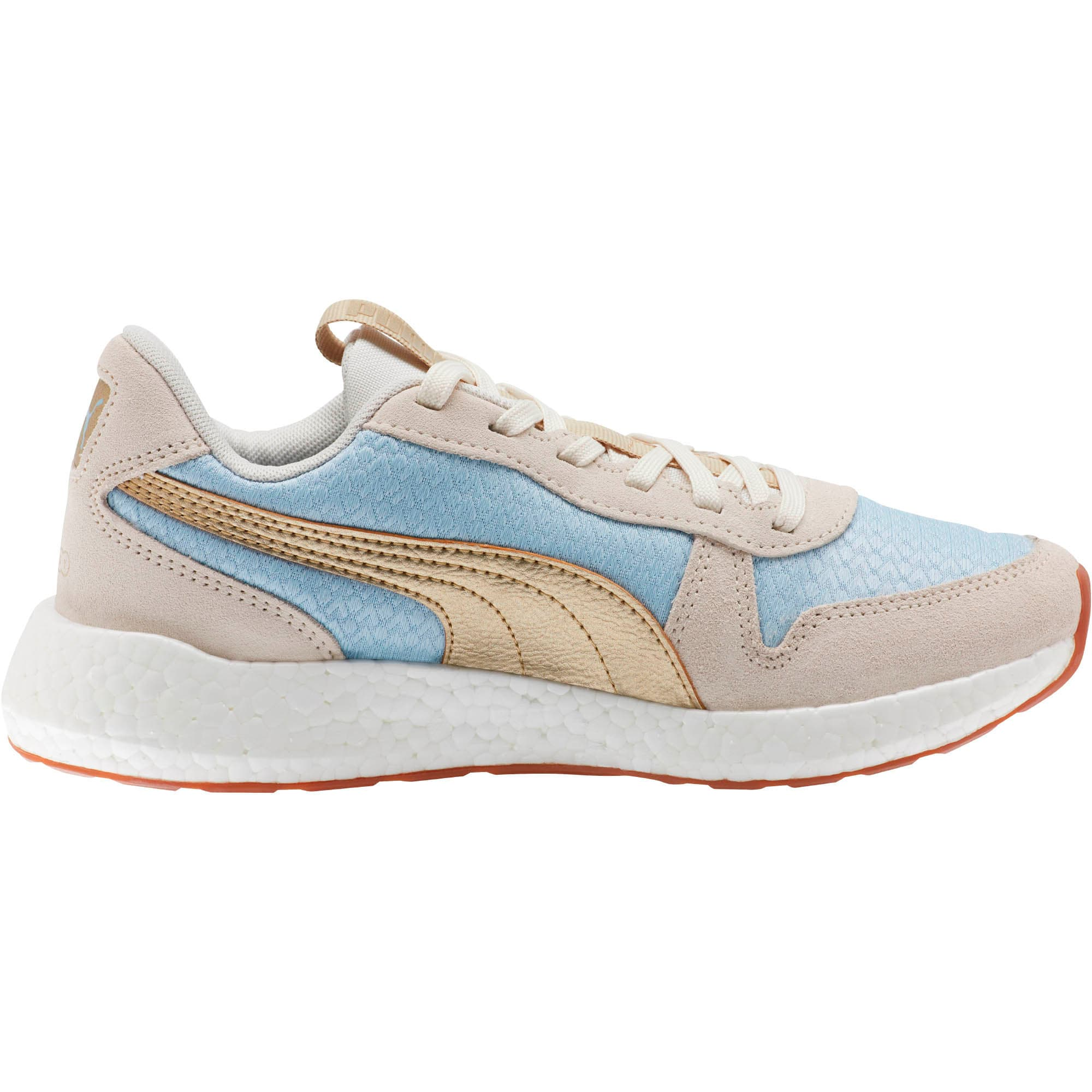 Thumbnail 4 of NRGY Neko Retro Sweet Women's Street Running Shoes, Light Sky- White- Gold, medium