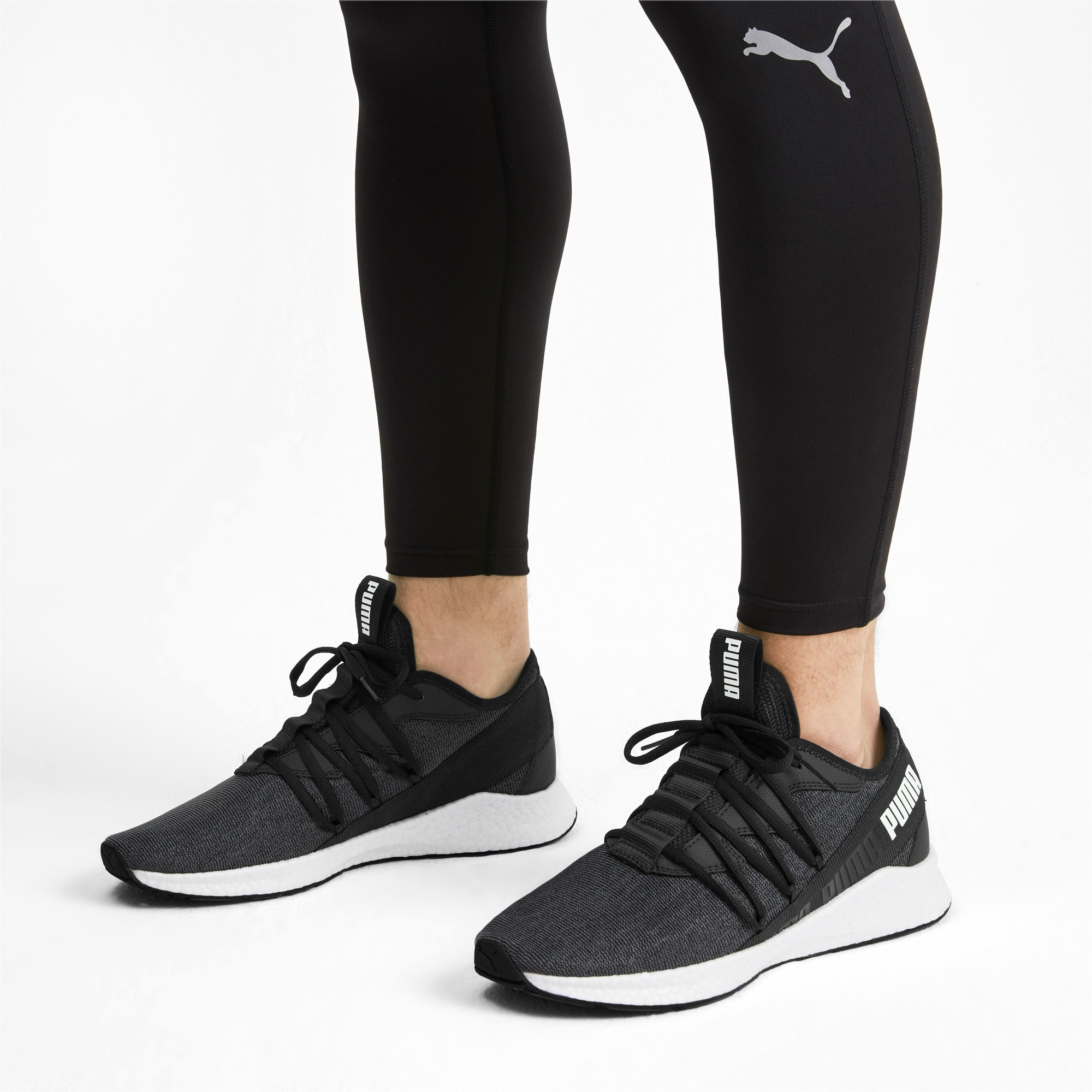 Thumbnail 2 of NRGY Star Knit Running Shoes, Puma Black-Puma White, medium