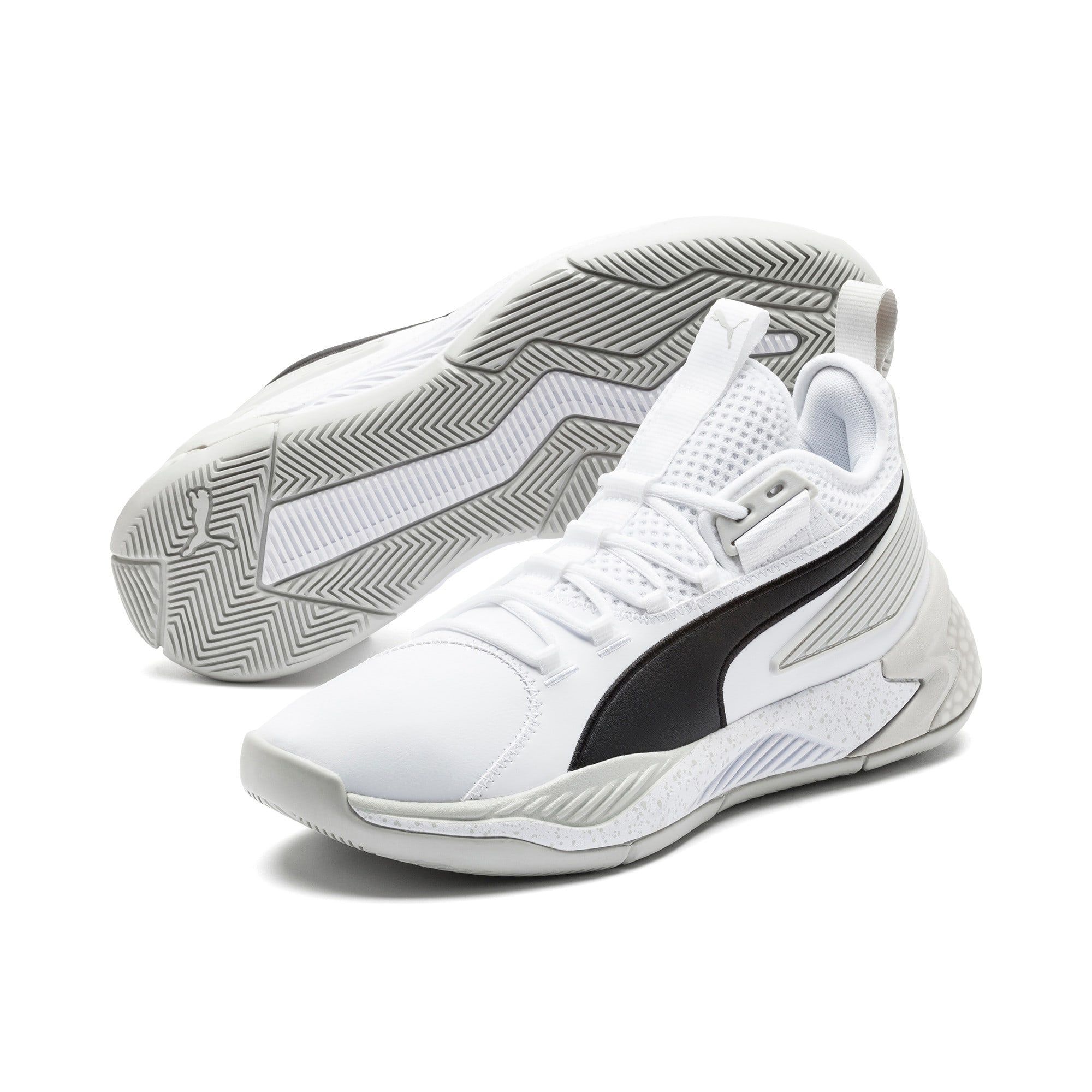 Thumbnail 2 of Uproar Core Men's Basketball Shoes, Puma White-Glacier Gray, medium