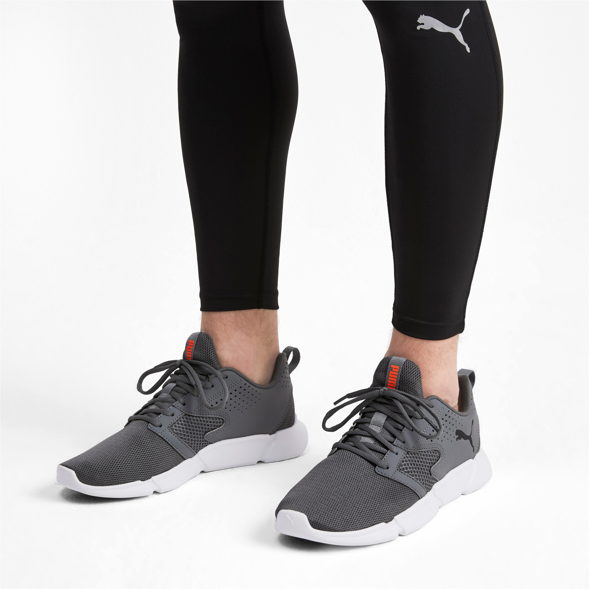 Thumbnail 2 of INTERFLEX Modern Running Shoes, CASTLEROCK-Black-Nrgy Red, medium-IND