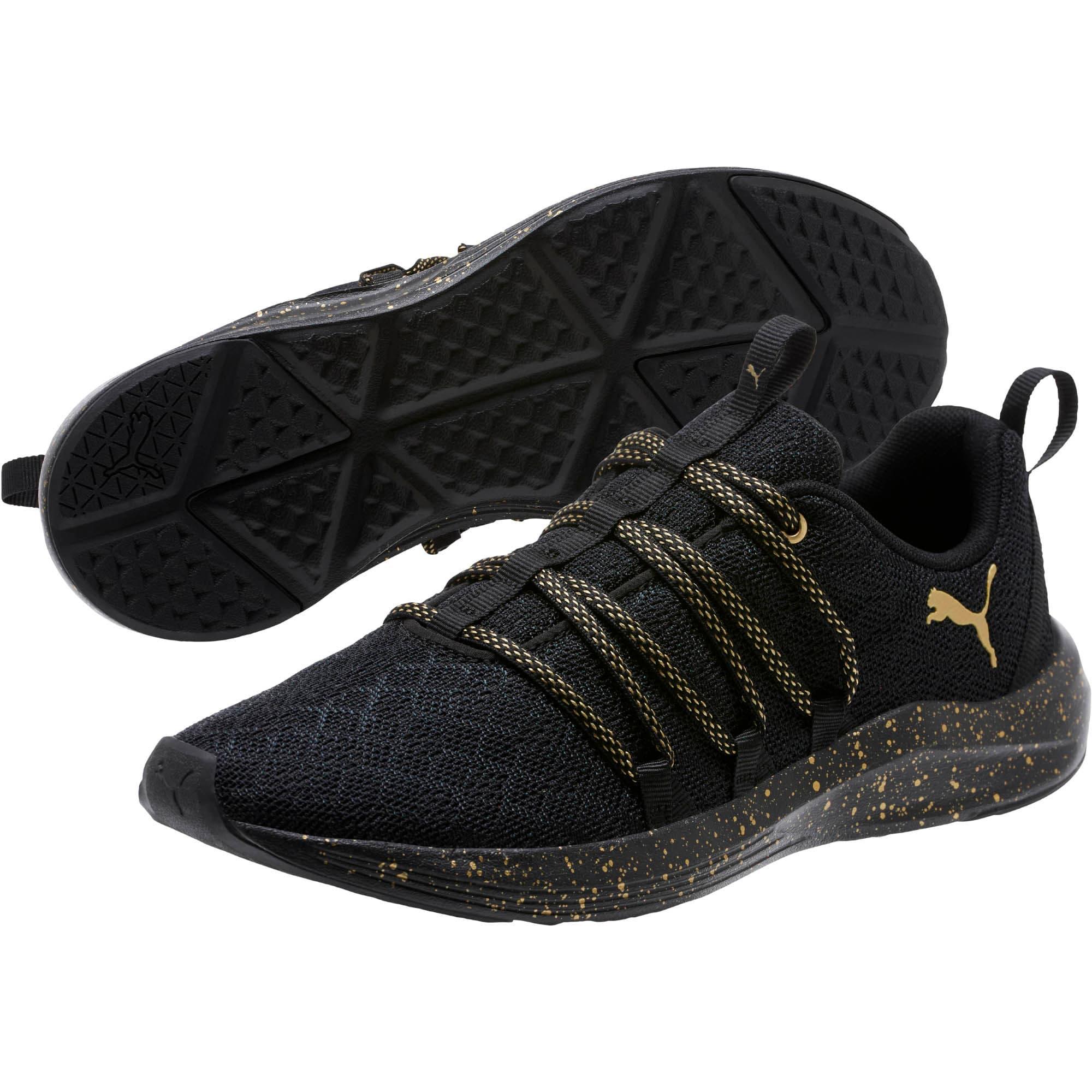Thumbnail 2 of Prowl Alt Mesh Speckle Women's Training Shoes, Puma Black-Puma Team Gold, medium
