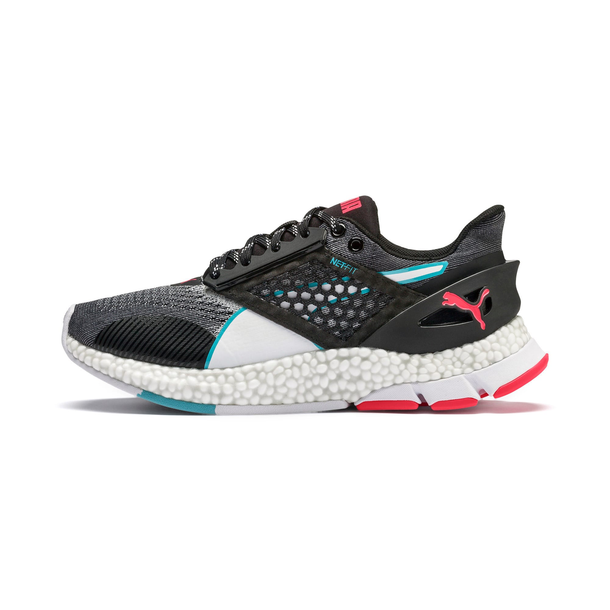 Thumbnail 1 of HYBRID NETFIT Astro Women's Running Shoes, Puma Black-Pink Alert, medium