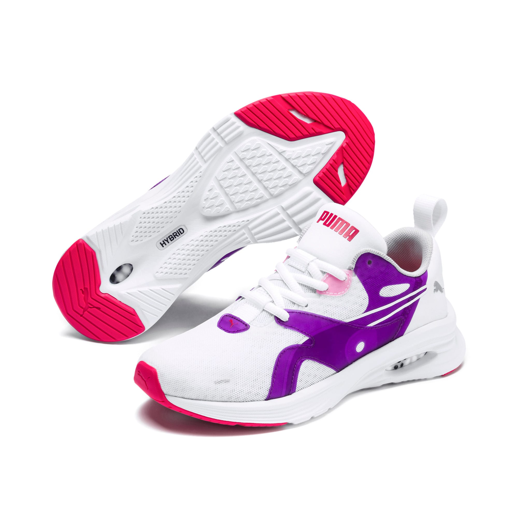 Thumbnail 2 of HYBRID Fuego Running Shoes JR, Puma White-Royal Lilac, medium
