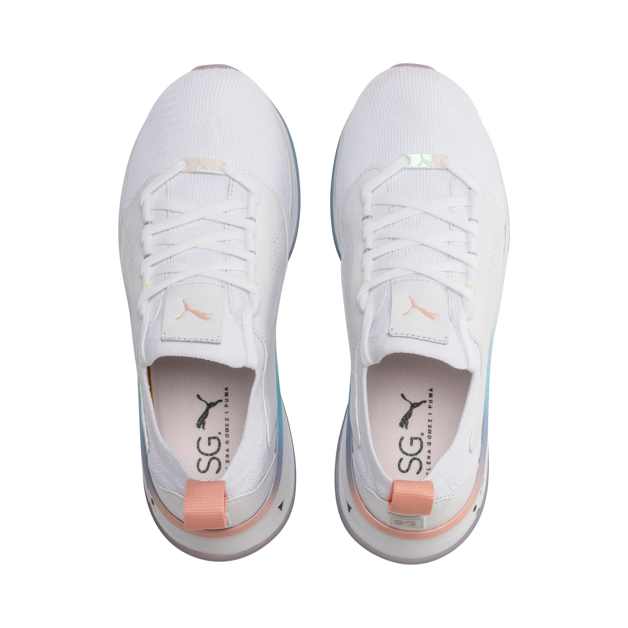Thumbnail 7 of PUMA x SELENA GOMEZ Runner Women's Training Shoes, Puma White-Peach Bud, medium