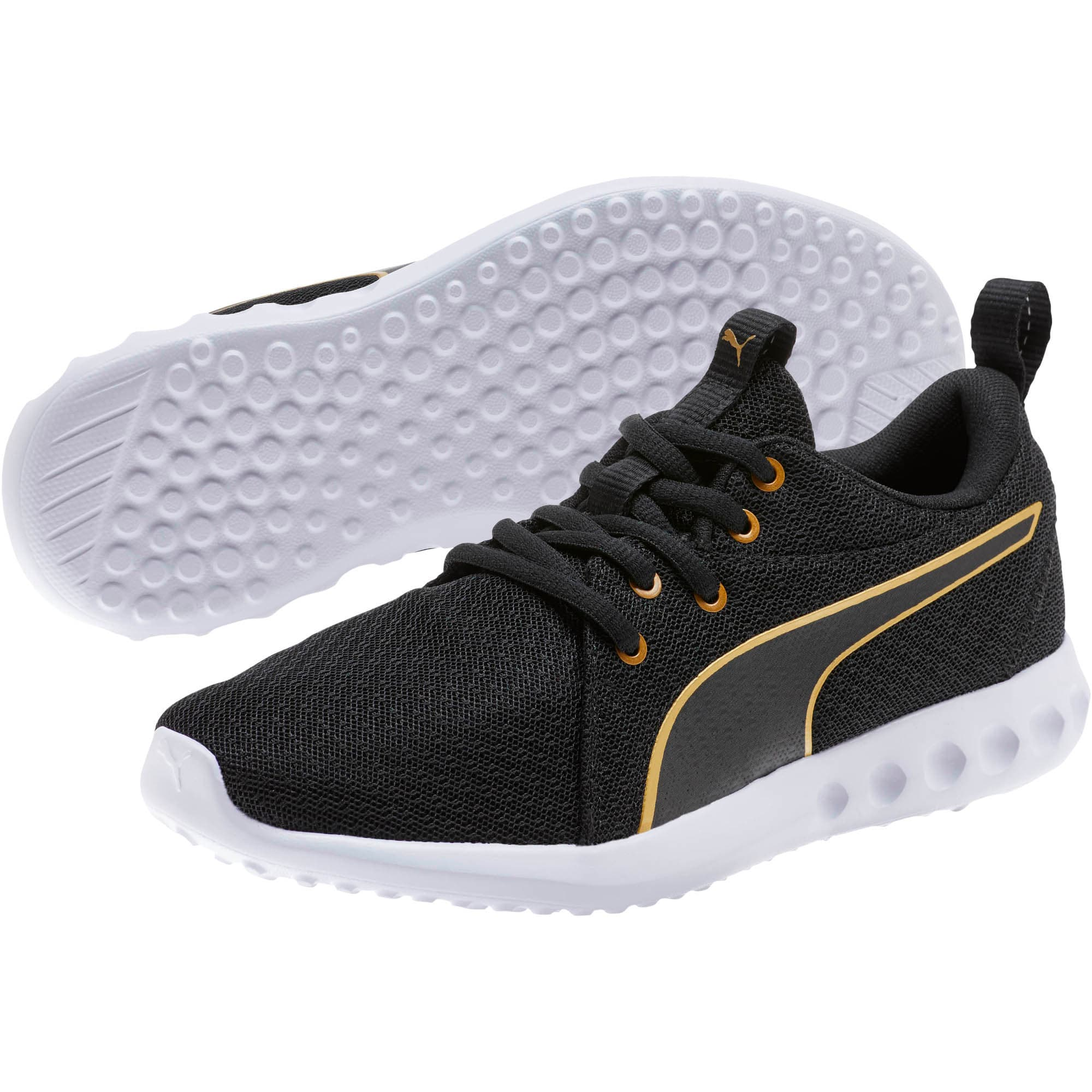 Thumbnail 2 of Carson 2 Metallic Mesh Shoes JR, Puma Black-Gold, medium