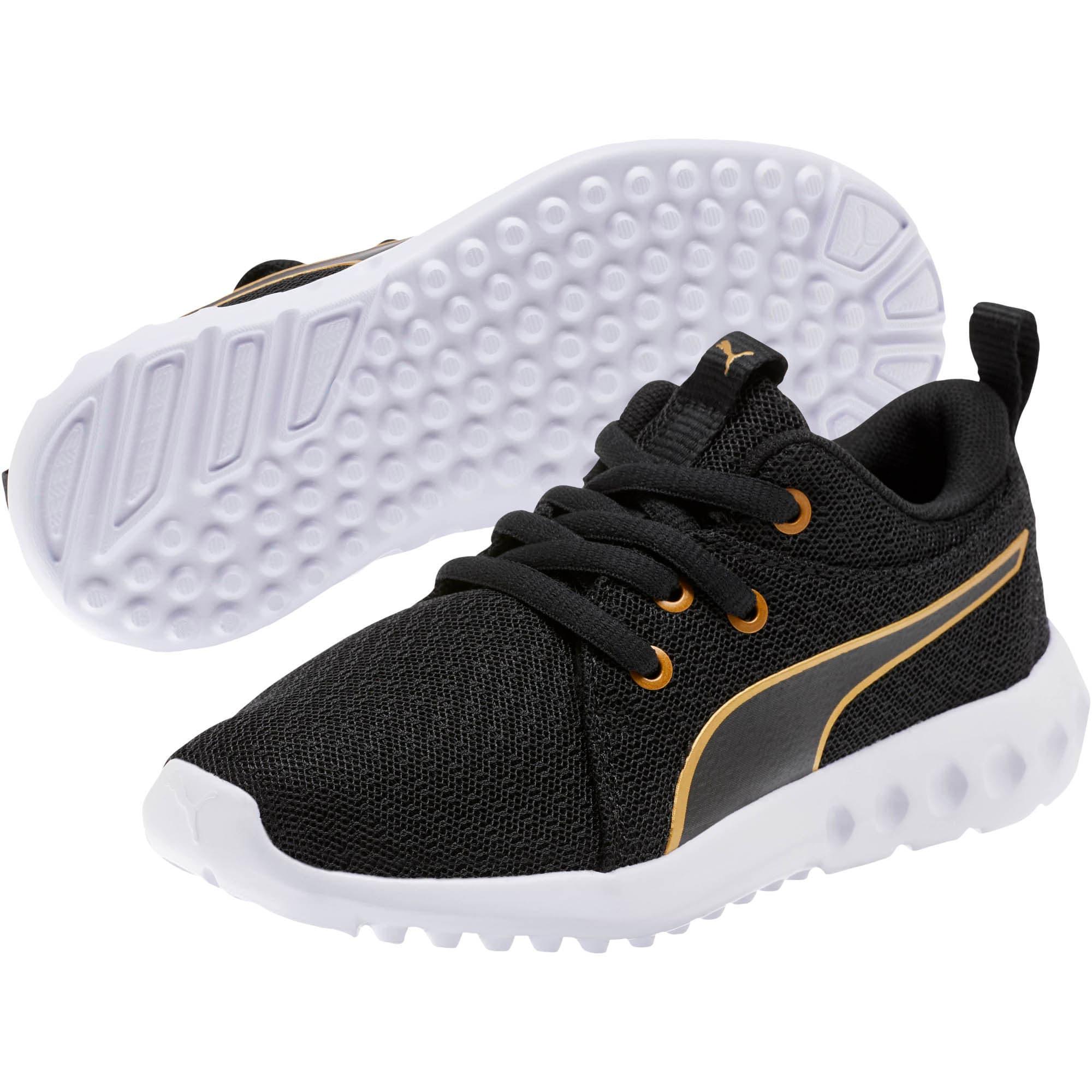 Thumbnail 2 of Carson 2 Metallic Mesh Little Kids' Shoes, Puma Black-Gold, medium