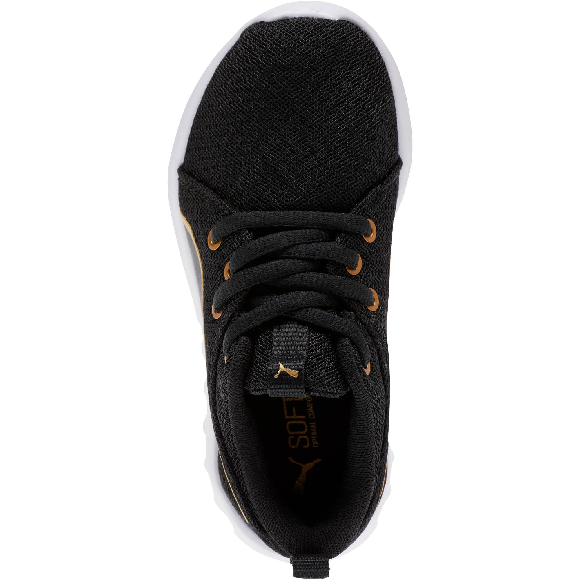 Thumbnail 5 of Carson 2 Metallic Mesh Little Kids' Shoes, Puma Black-Gold, medium