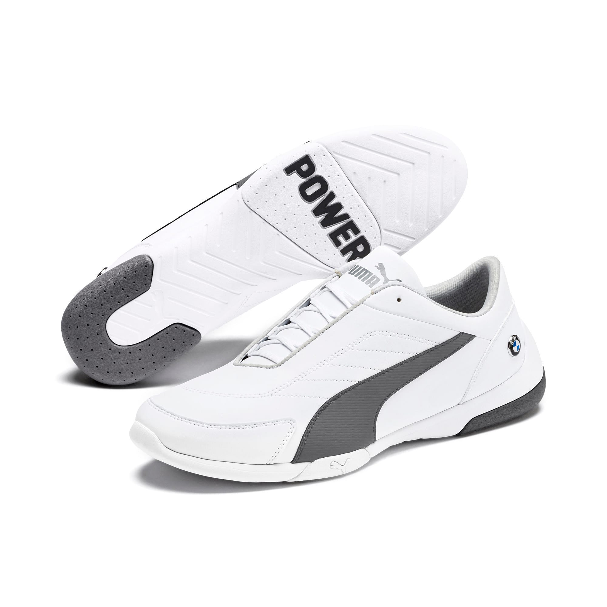 BMW M Motorsport Kart Cat III Shoes, Puma White-Smoked Pearl, large