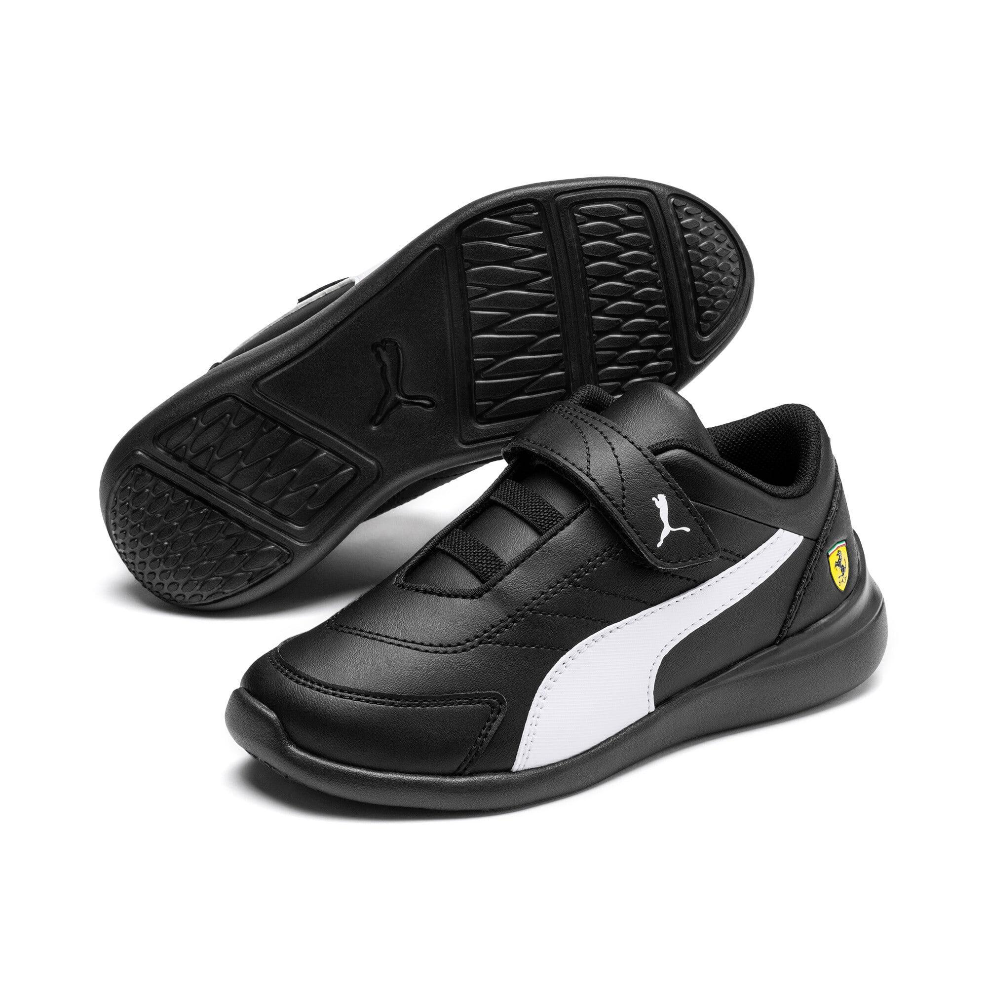 Thumbnail 2 of Scuderia Ferrari Kart Cat III Little Kids' Shoes, Black-White-Blazing Yellow, medium