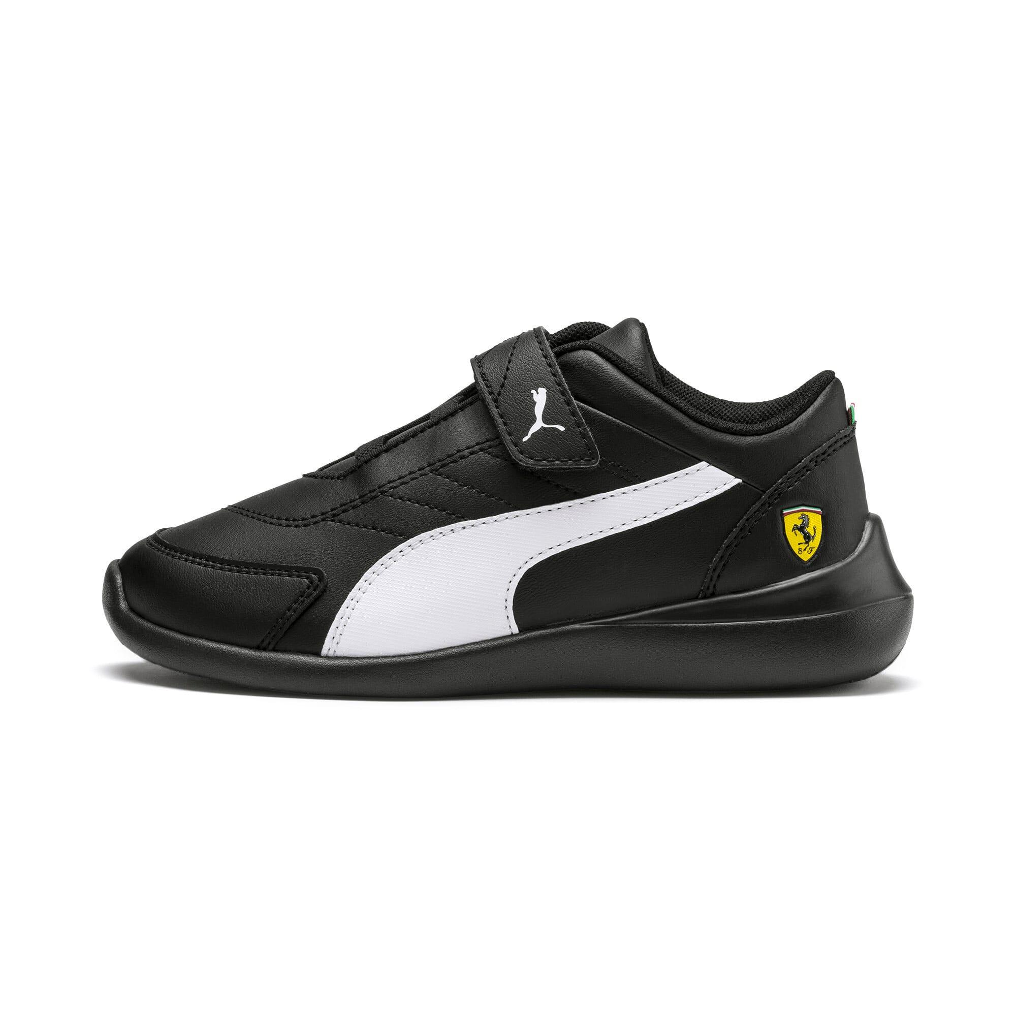 Thumbnail 1 of Scuderia Ferrari Kart Cat III Little Kids' Shoes, Black-White-Blazing Yellow, medium