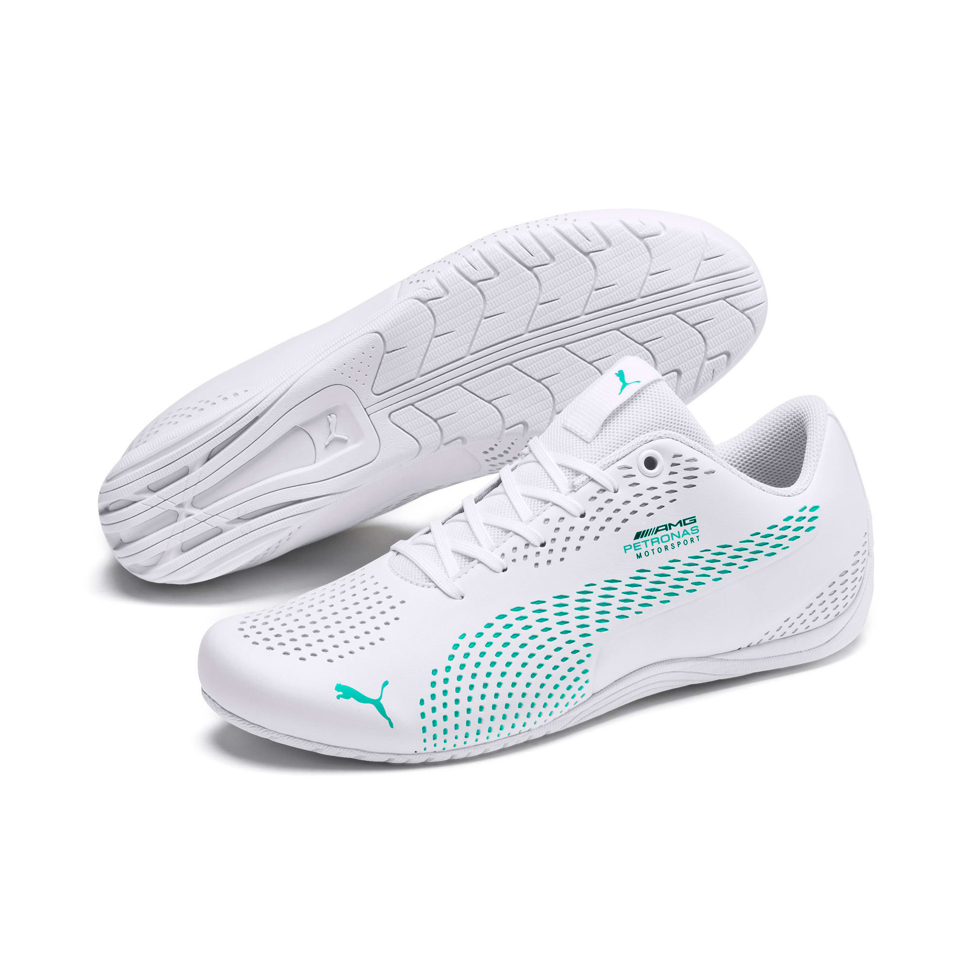 Thumbnail 3 of Mercedes AMG Petronas Drift Cat 5 Ultra II Trainers, Puma White-Spectra Green, medium