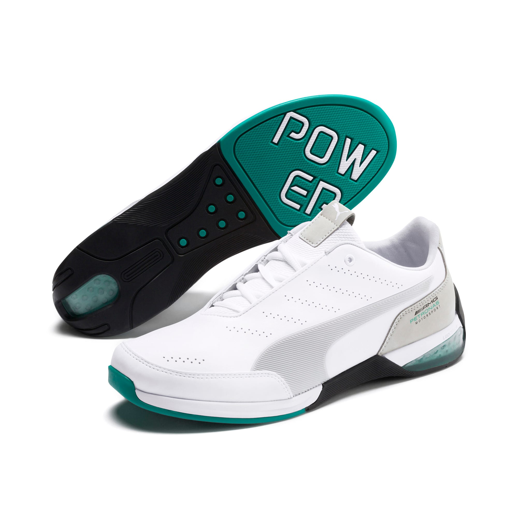 Thumbnail 3 of Mercedes AMG Petronas Kart Cat X Men's Training Shoes, Puma White-Mercedes Silver, medium