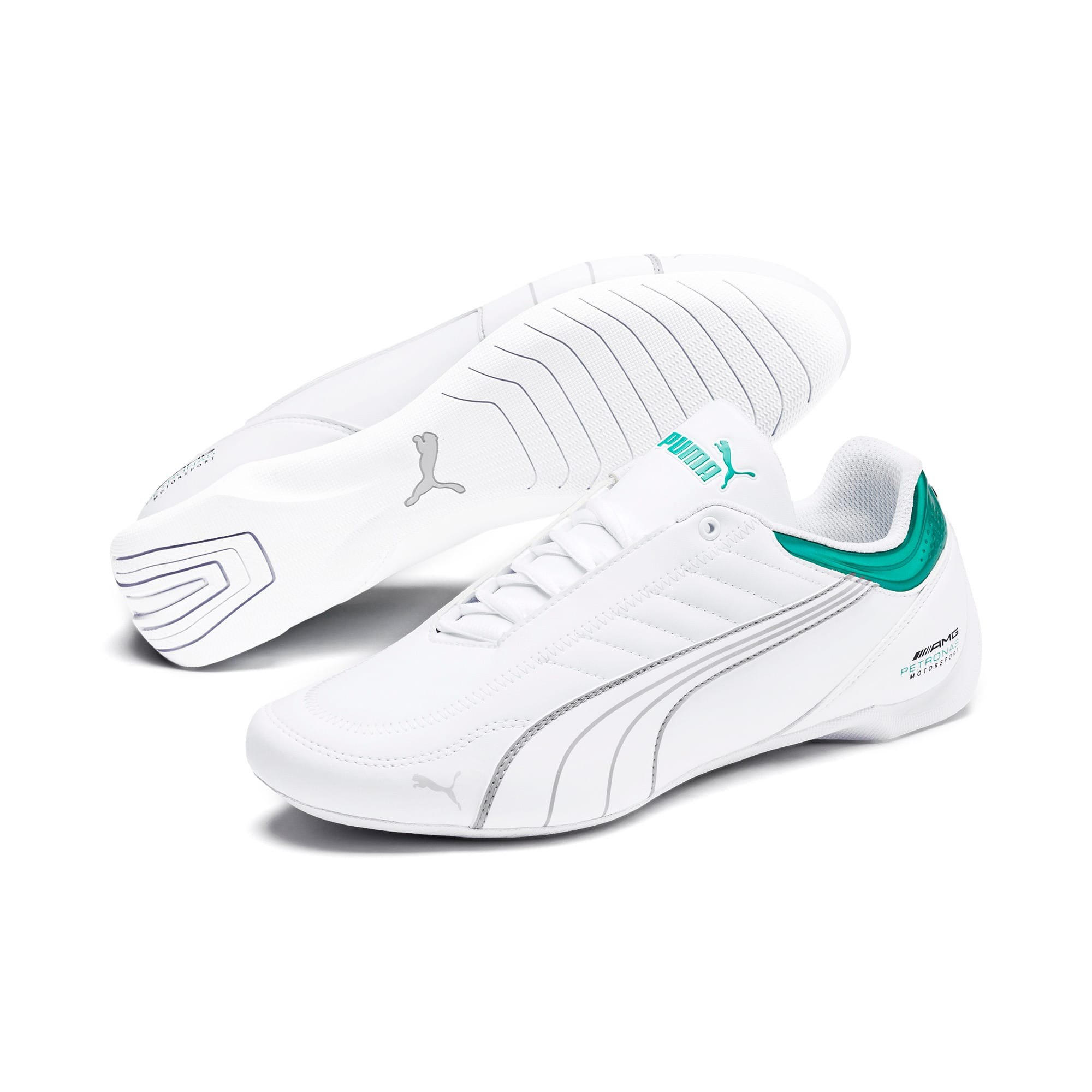 Thumbnail 3 of Mercedes AMG Petronas Motorsport Future Kart Cat Trainers, Puma White-Mercedes Silver, medium