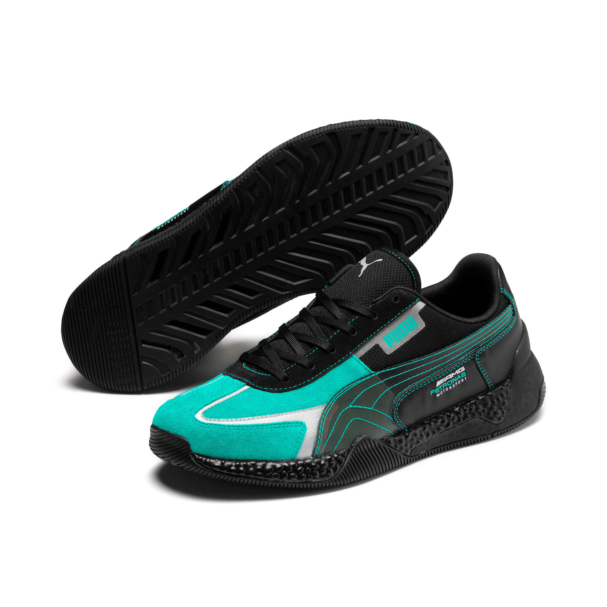 Thumbnail 3 of Mercedes AMG Petronas Speed HYBRID Running Shoes, Puma Black-Spectra Green, medium