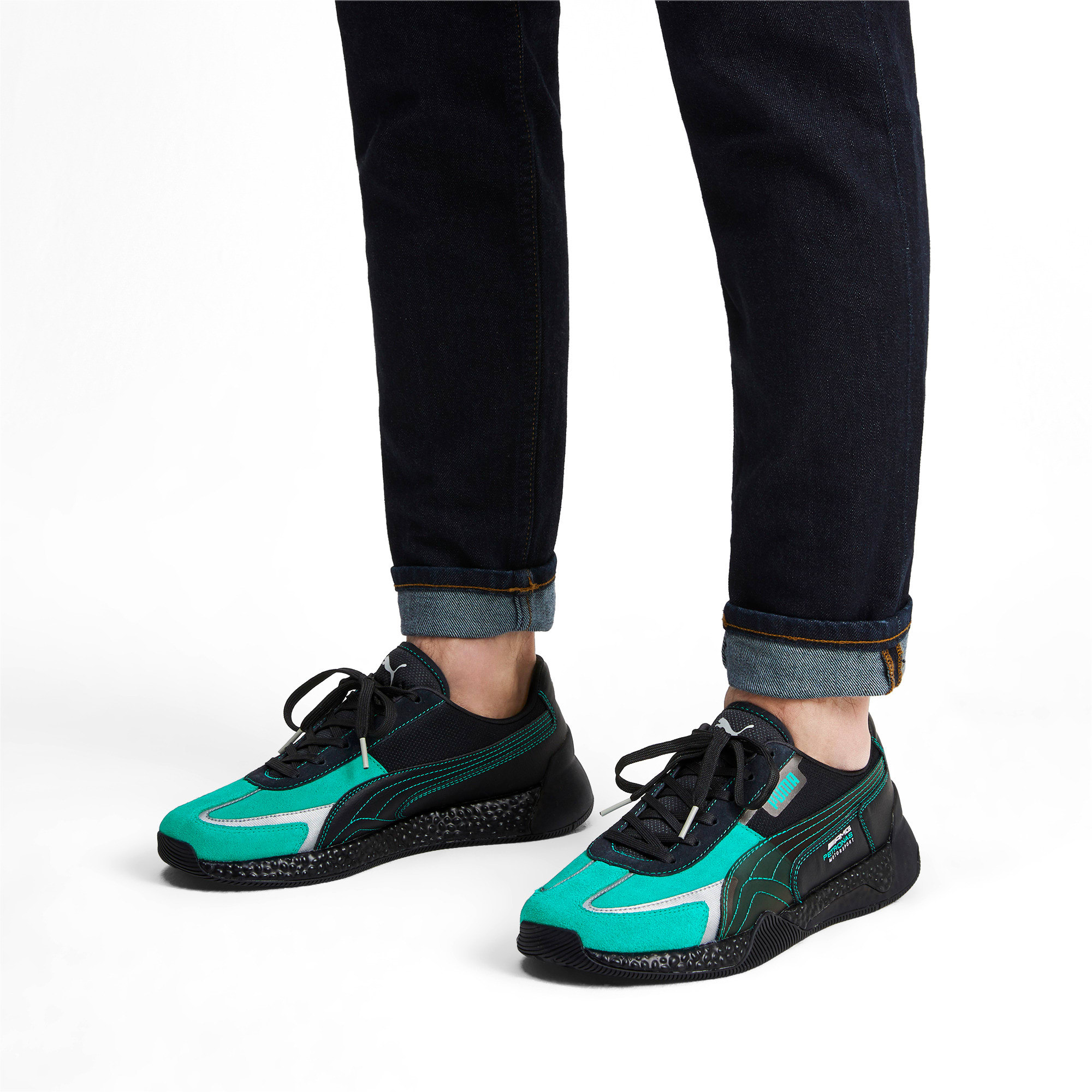 Thumbnail 2 of Mercedes AMG Petronas Speed HYBRID Running Shoes, Puma Black-Spectra Green, medium