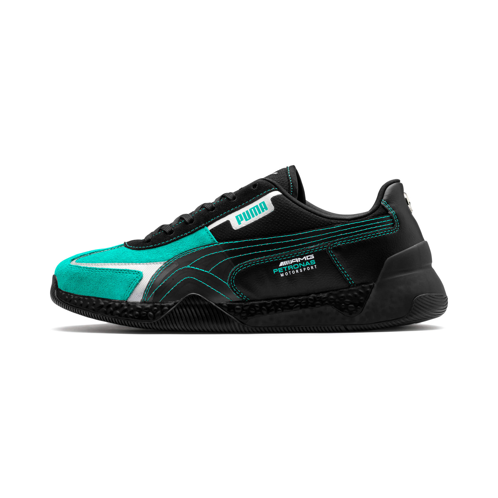 Thumbnail 1 of Mercedes AMG Petronas Speed HYBRID Running Shoes, Puma Black-Spectra Green, medium