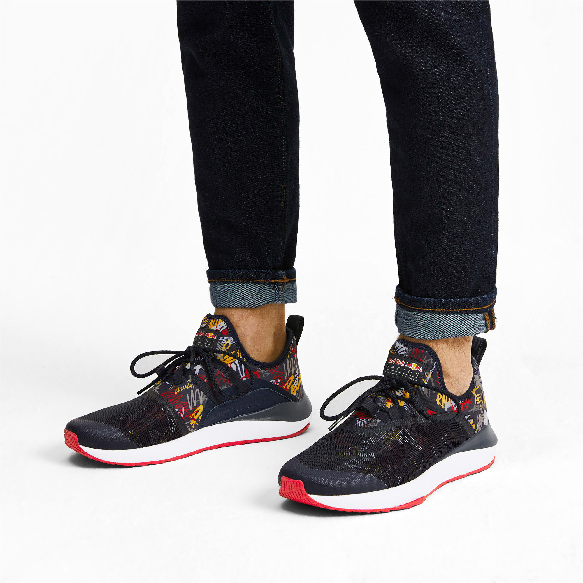 Thumbnail 3 of Red Bull Racing Evo Cat II Graphic Men's Training Shoes, NIGHT SKY-White-Chinese Red, medium