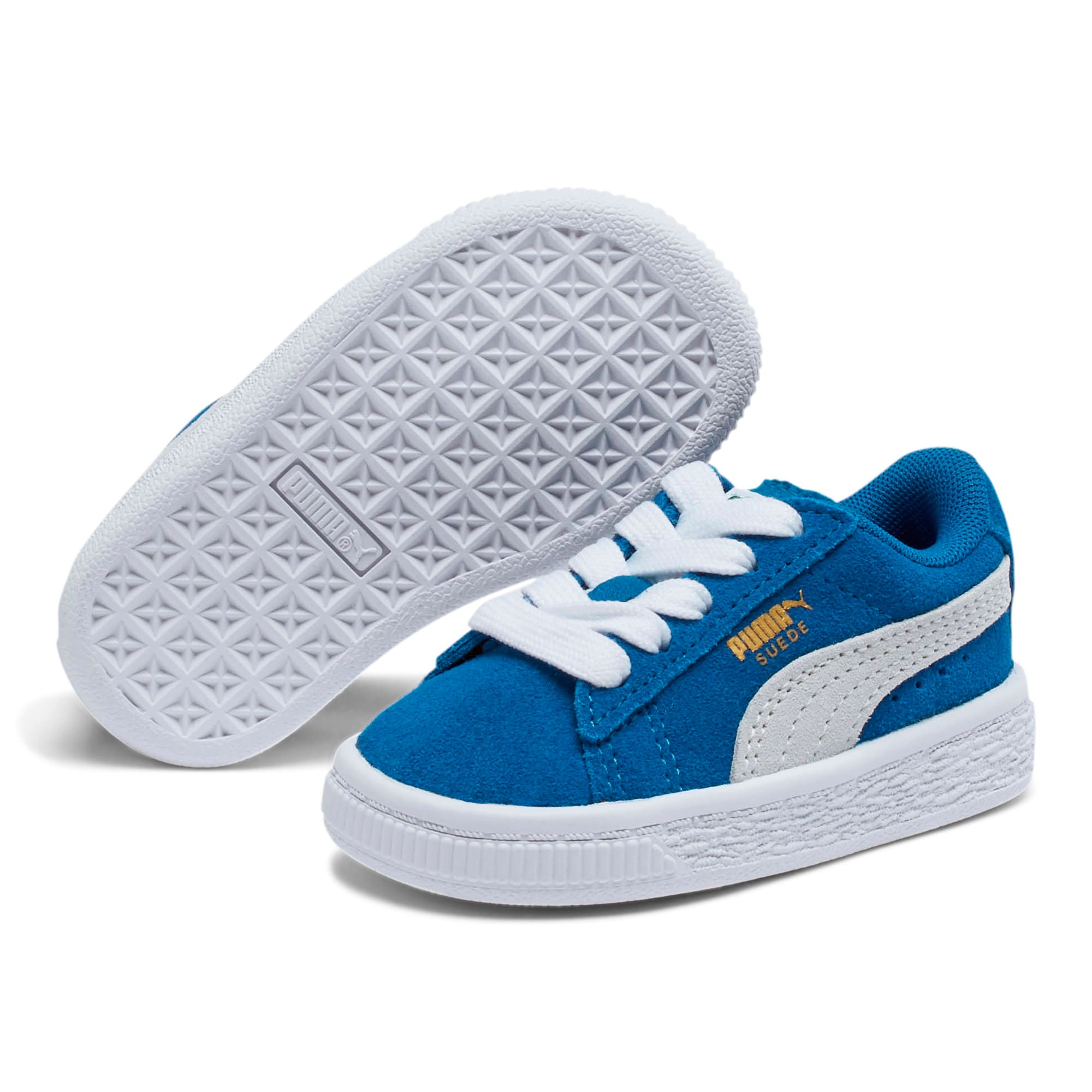 Thumbnail 2 of Puma Suede Toddler Shoes, Snorkel Blue-Puma White, medium