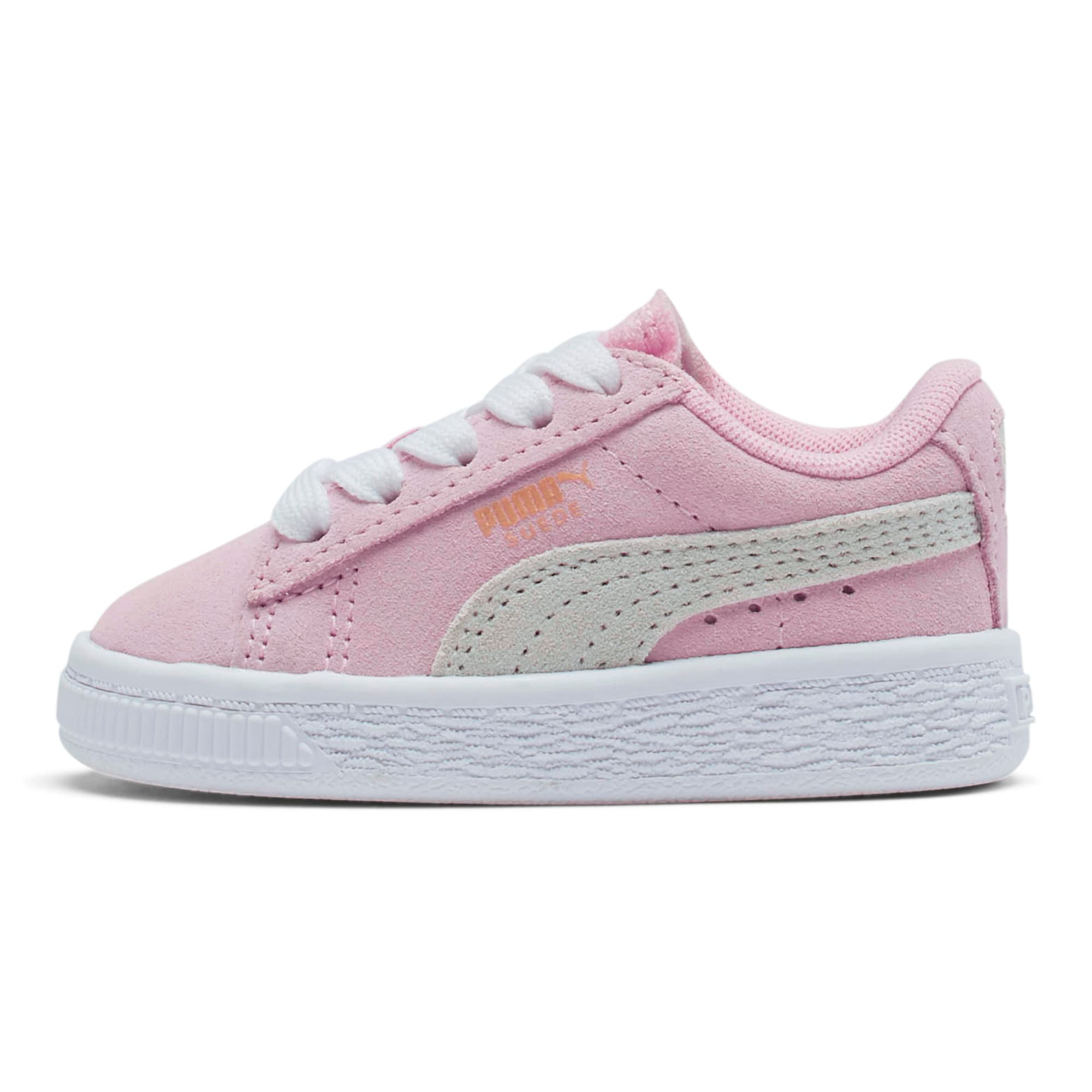 Thumbnail 1 of Puma Suede Toddler Shoes, Pink Lady-Puma White, medium