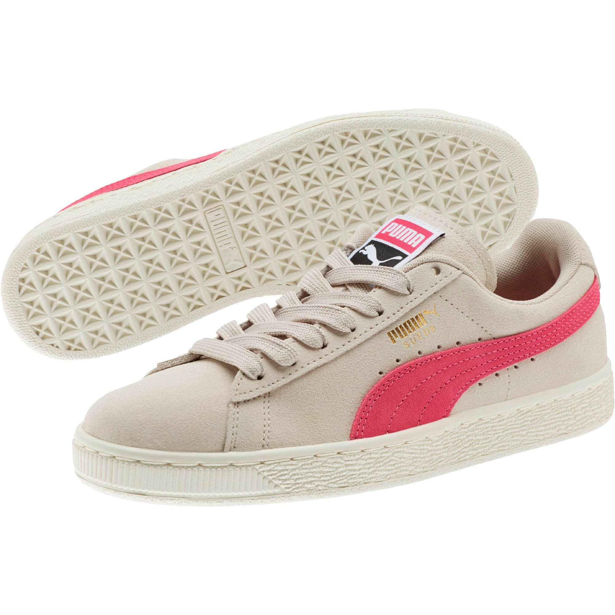 Thumbnail 2 of Suede Classic Women's Sneakers, Silver Gray-Fuchsia Purple, medium