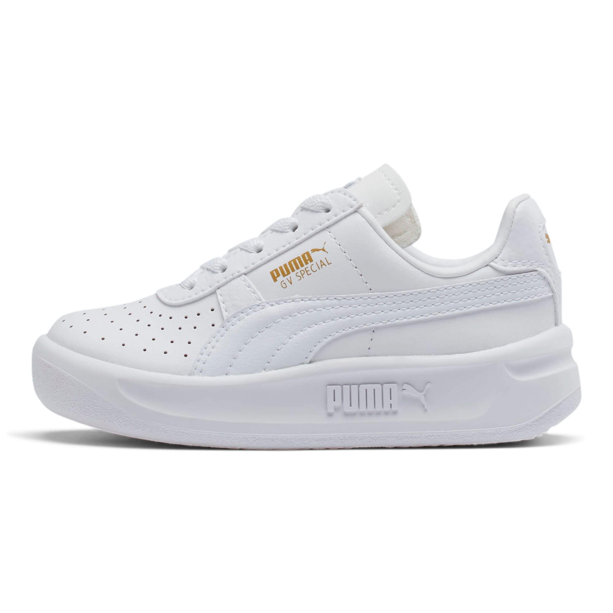 GV Special Little Kids' Shoes, Puma White-Puma Team Gold, large