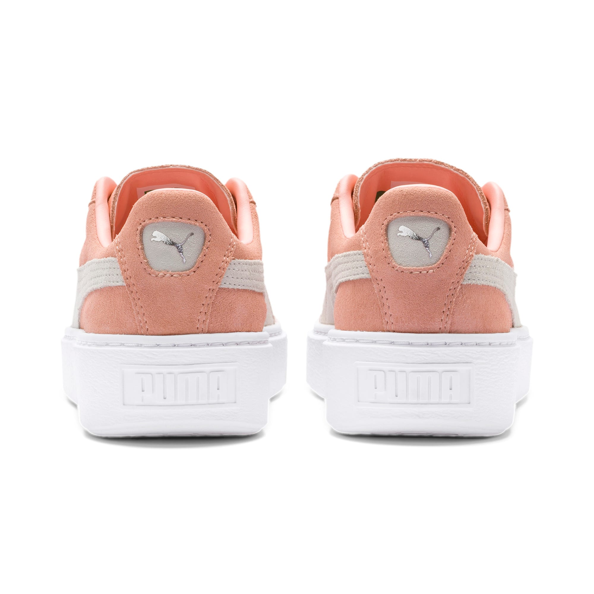 Thumbnail 4 of Suede Platform Women's Sneakers, Peach Bud-Puma Silver, medium
