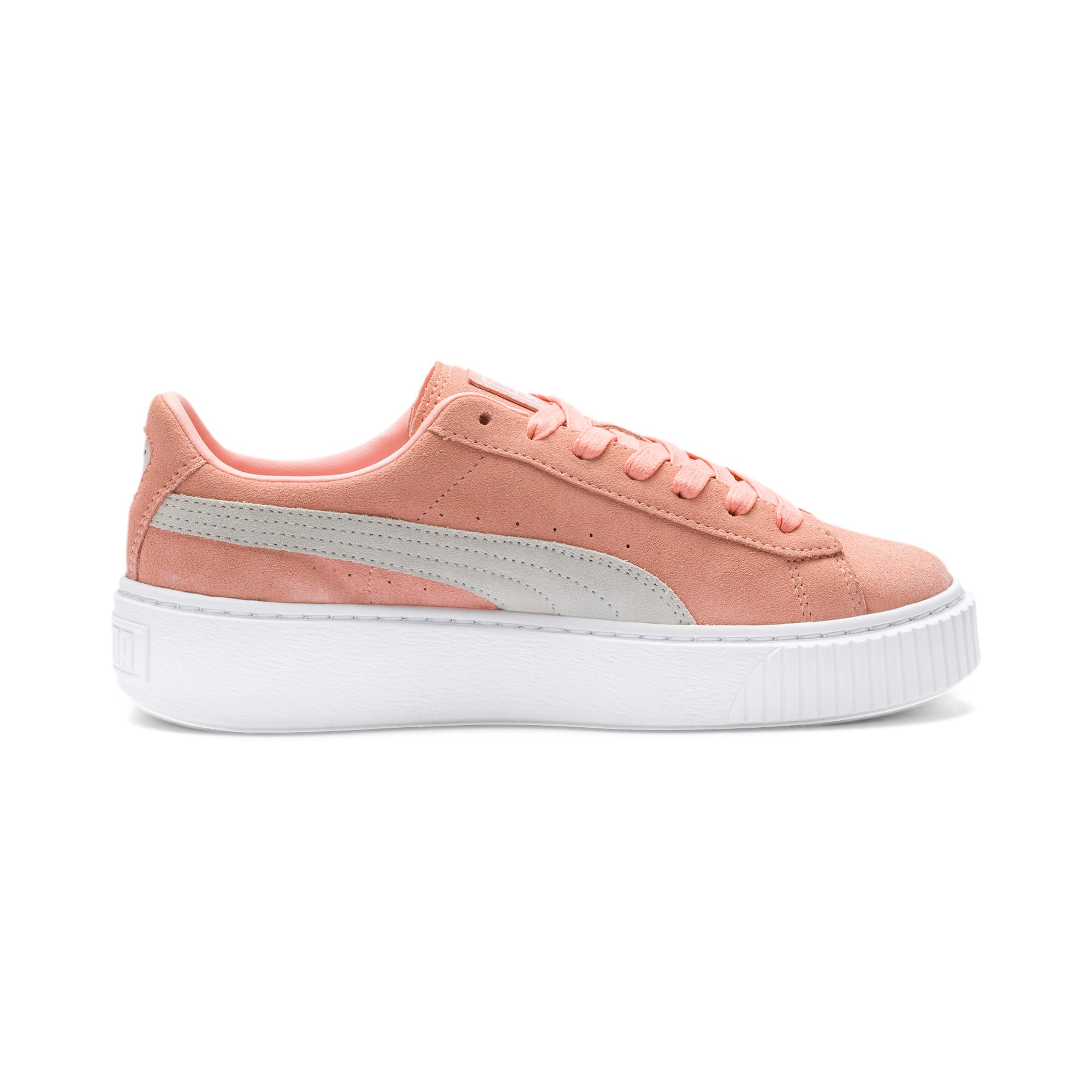 Thumbnail 5 of Suede Platform Women's Sneakers, Peach Bud-Puma Silver, medium