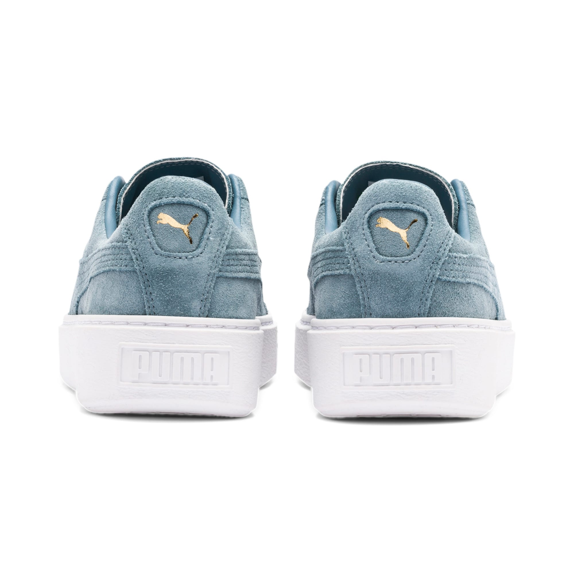 Thumbnail 5 of Suede Platform Women's Sneakers, Bluestone-Puma Team Gold, medium