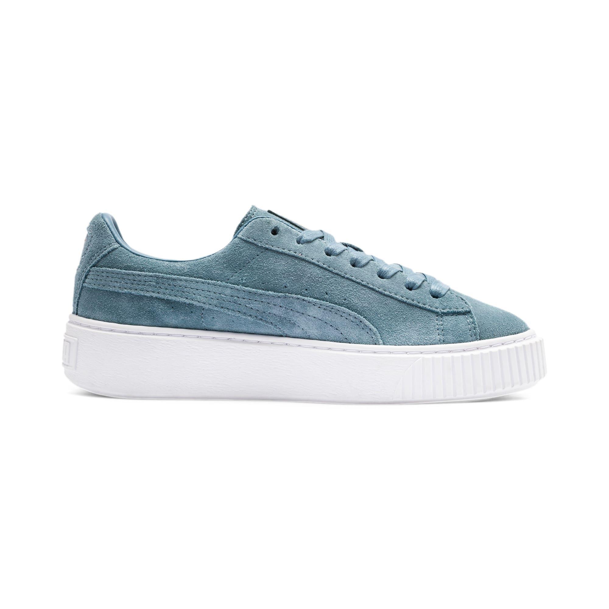 Thumbnail 6 of Suede Platform Women's Sneakers, Bluestone-Puma Team Gold, medium