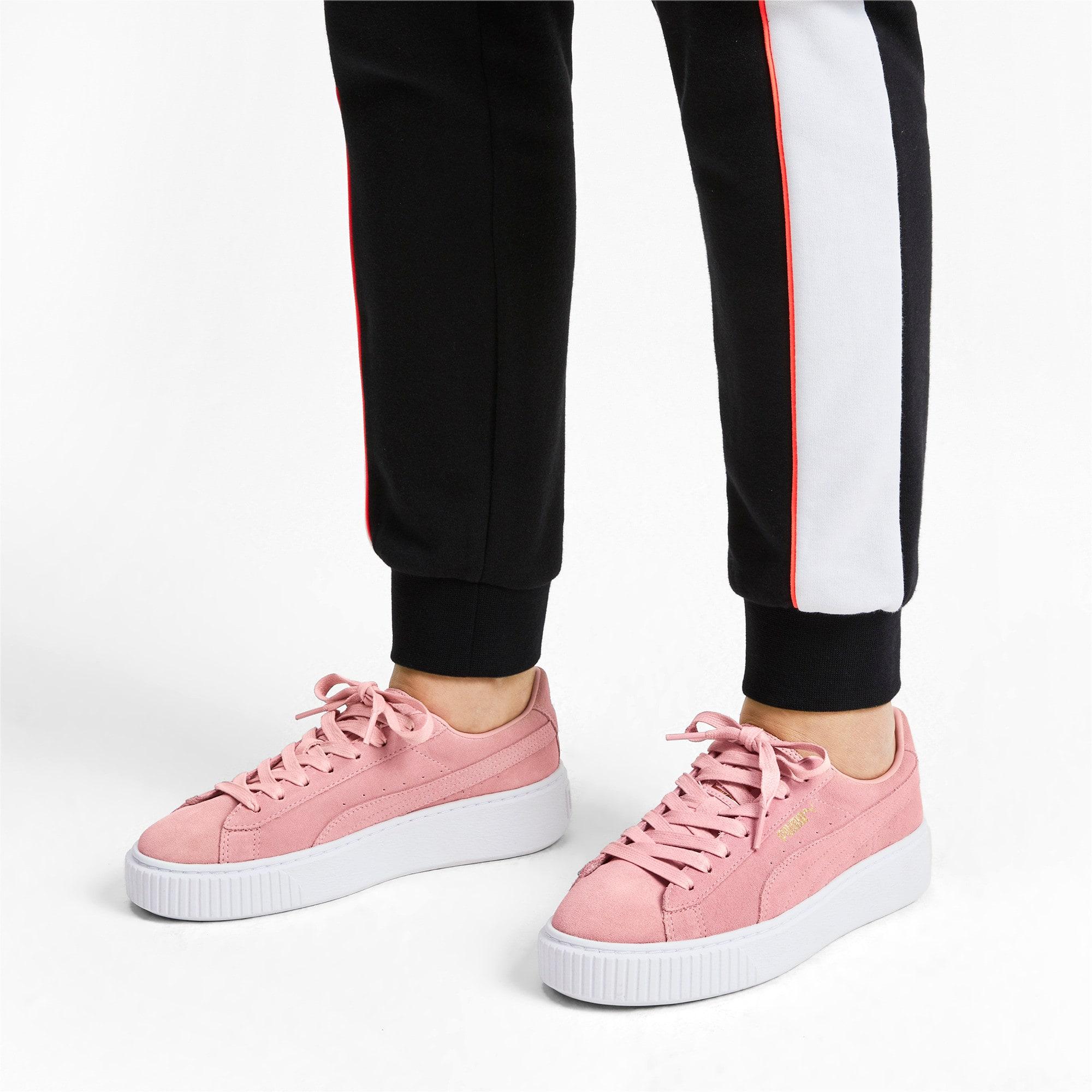 Thumbnail 3 of Suede Platform Women's Sneakers, Bridal Rose-Puma Team Gold, medium