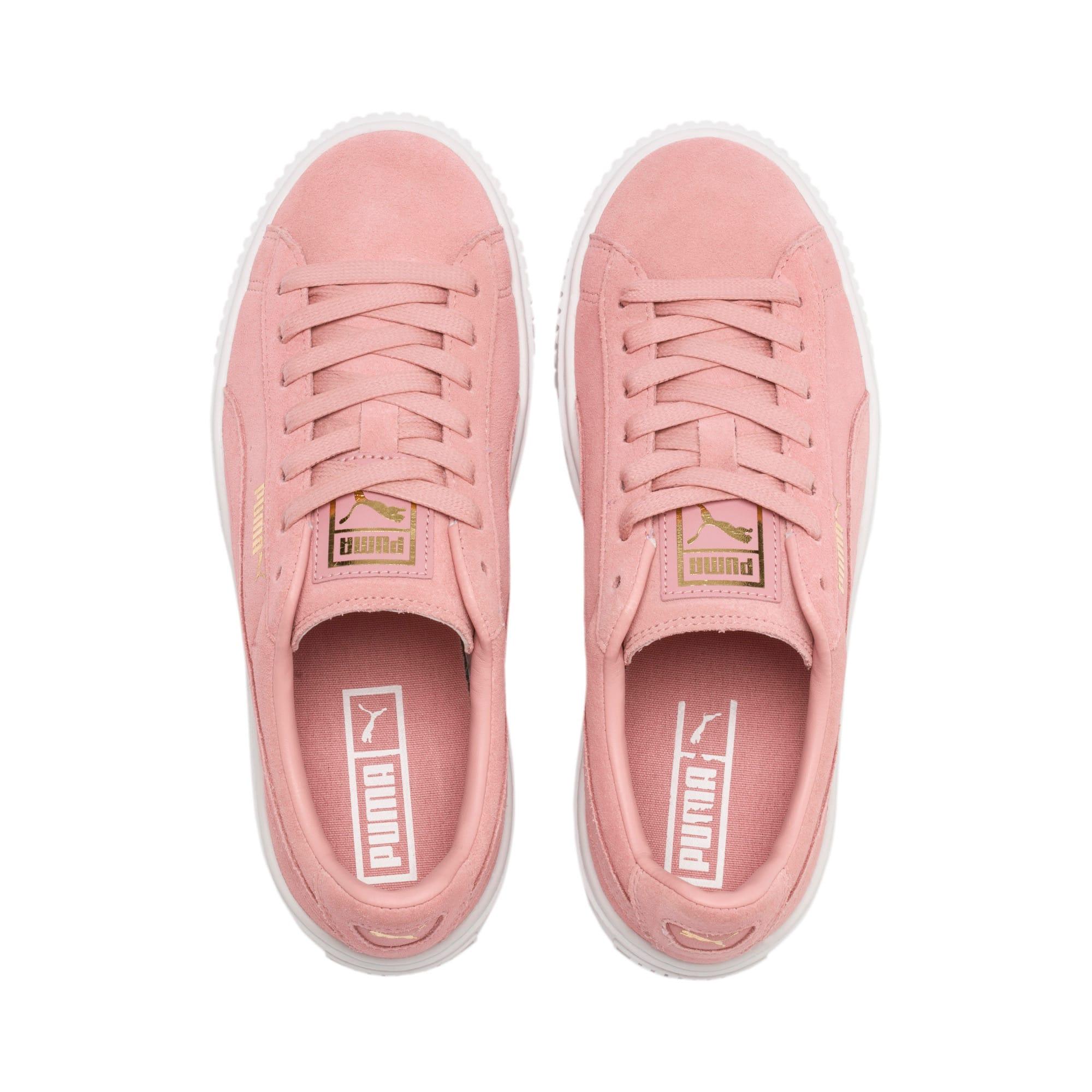 Thumbnail 7 of Suede Platform Women's Sneakers, Bridal Rose-Puma Team Gold, medium