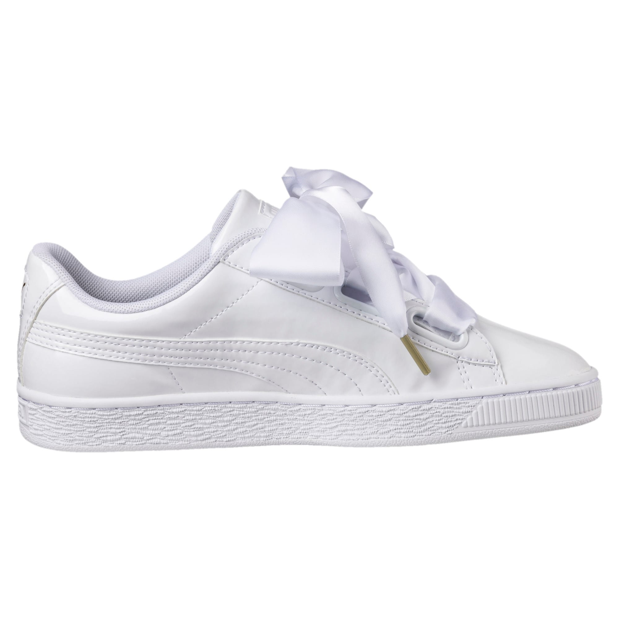 Thumbnail 4 of Basket Heart Patent Women's Trainers, Puma White-Puma White, medium