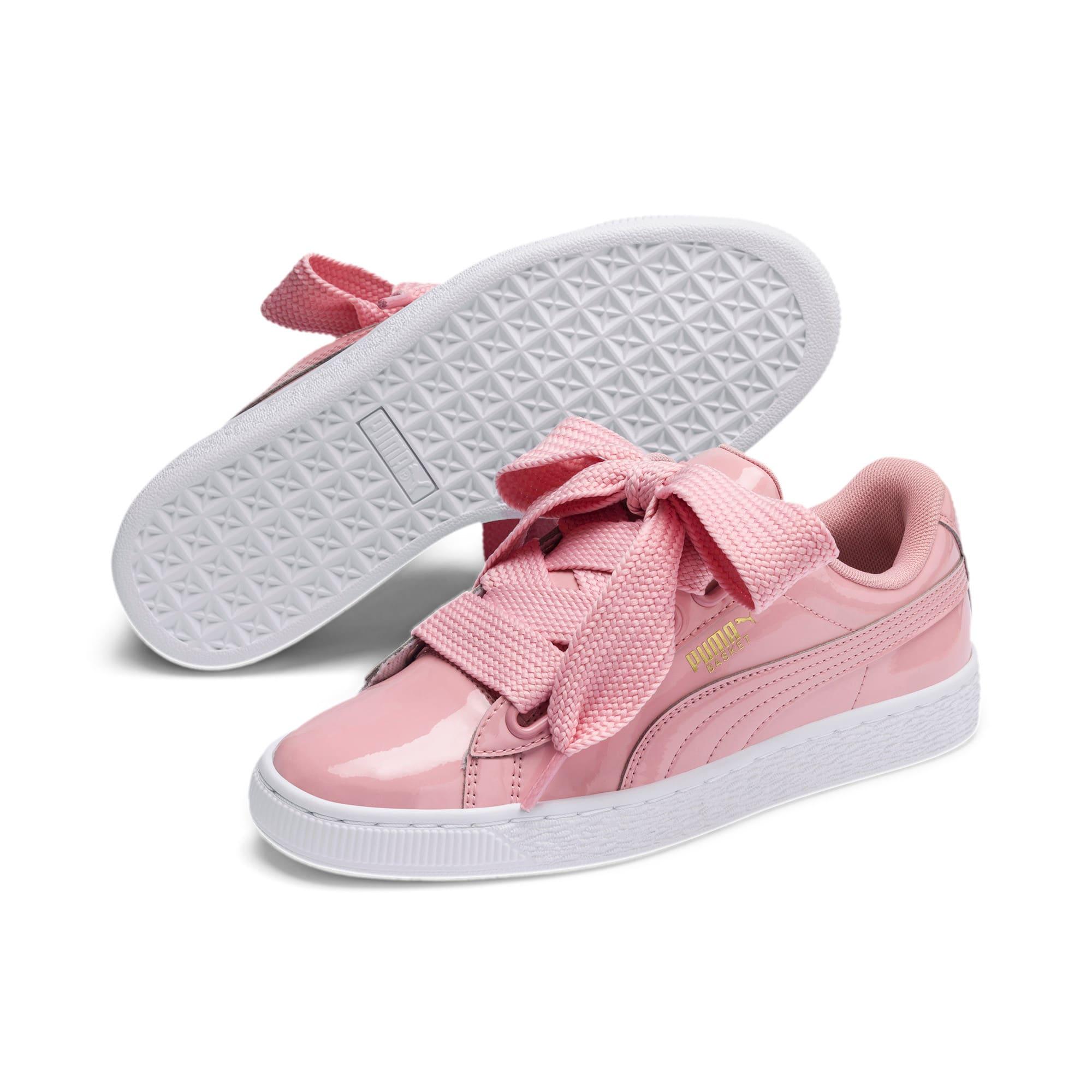 Thumbnail 3 of Basket Heart Patent Women's Sneakers, Bridal Rose-Puma Team Gold, medium