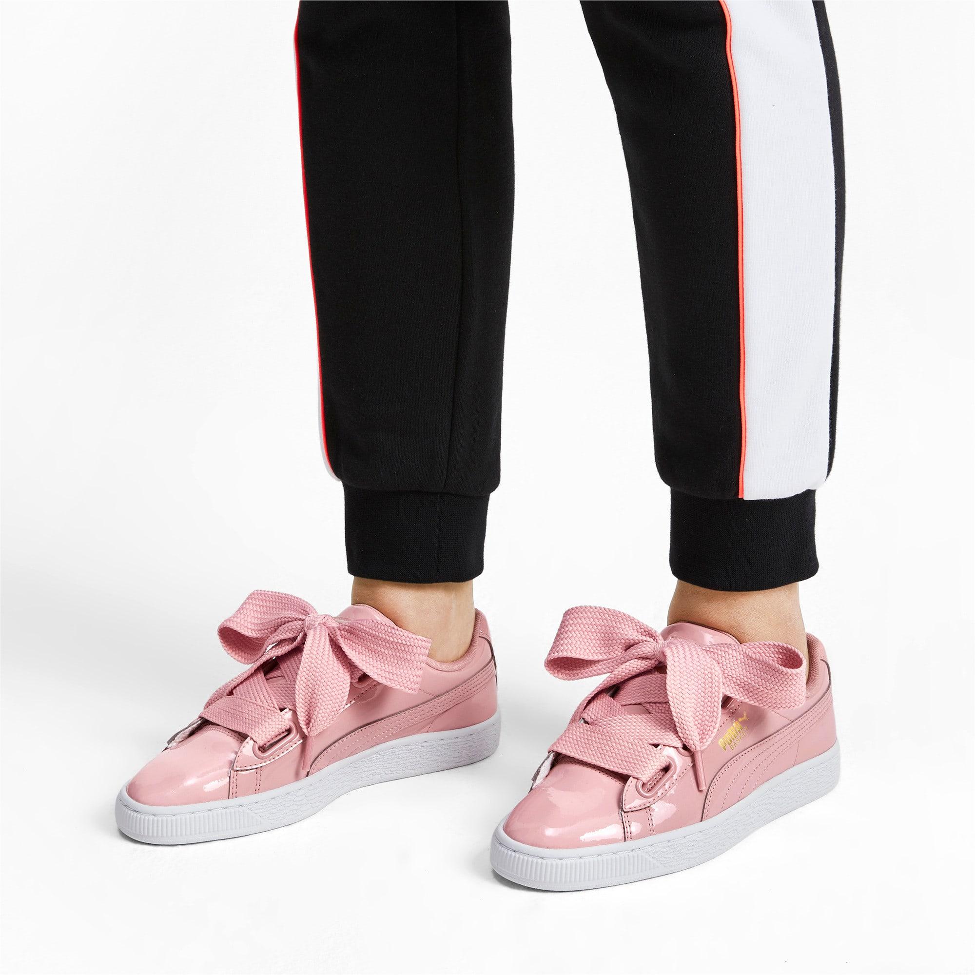Thumbnail 2 of Basket Heart Patent Women's Sneakers, Bridal Rose-Puma Team Gold, medium