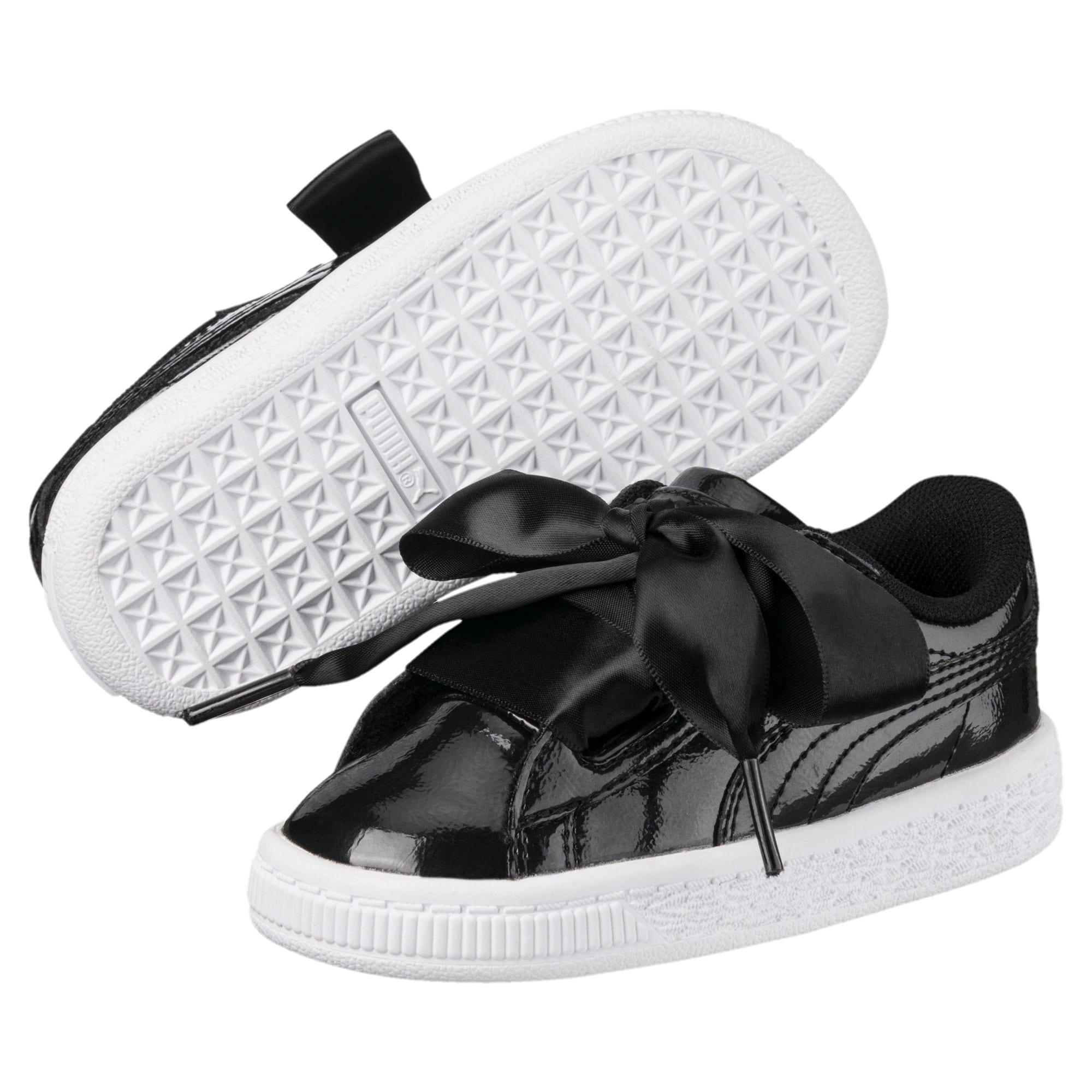 Thumbnail 2 of Basket Heart Glam Little Kids' Shoes, Puma Black-Puma Black, medium