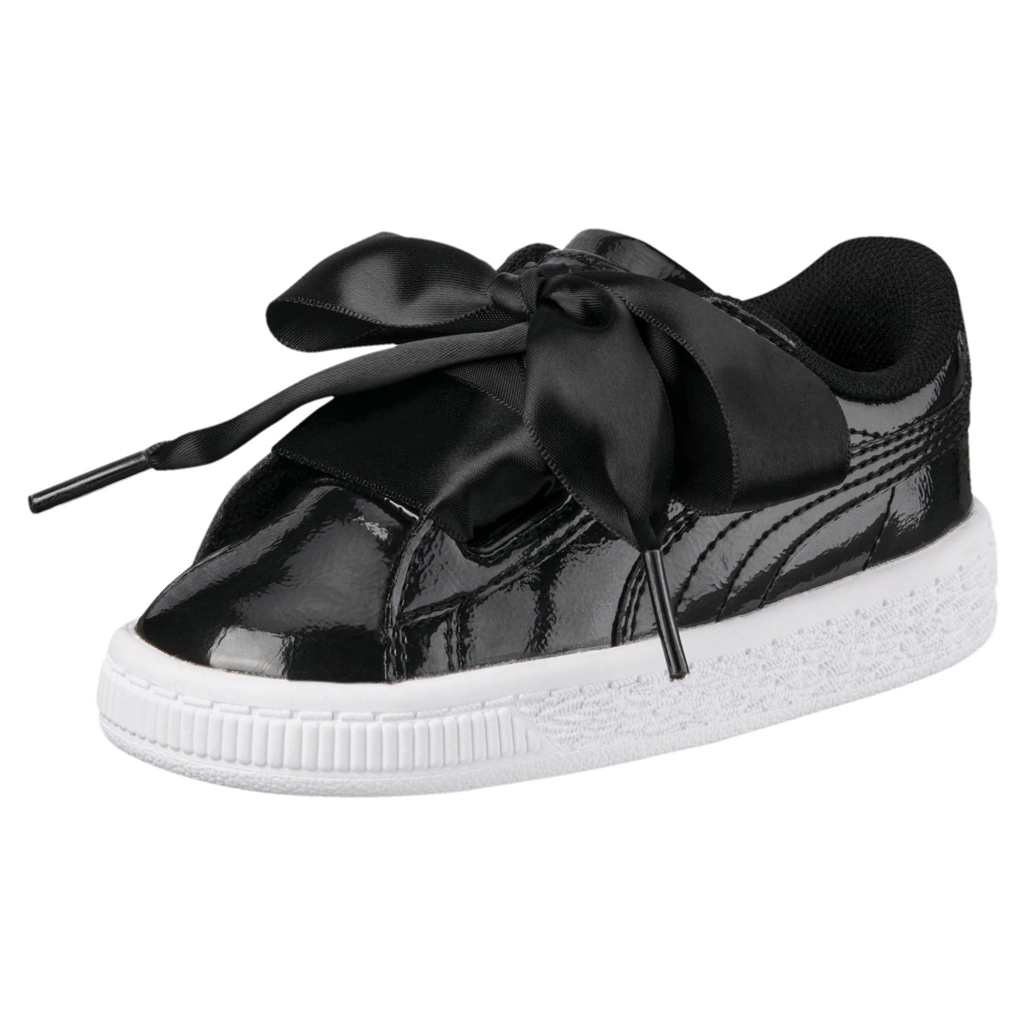 Thumbnail 1 of Basket Heart Glam Little Kids' Shoes, Puma Black-Puma Black, medium