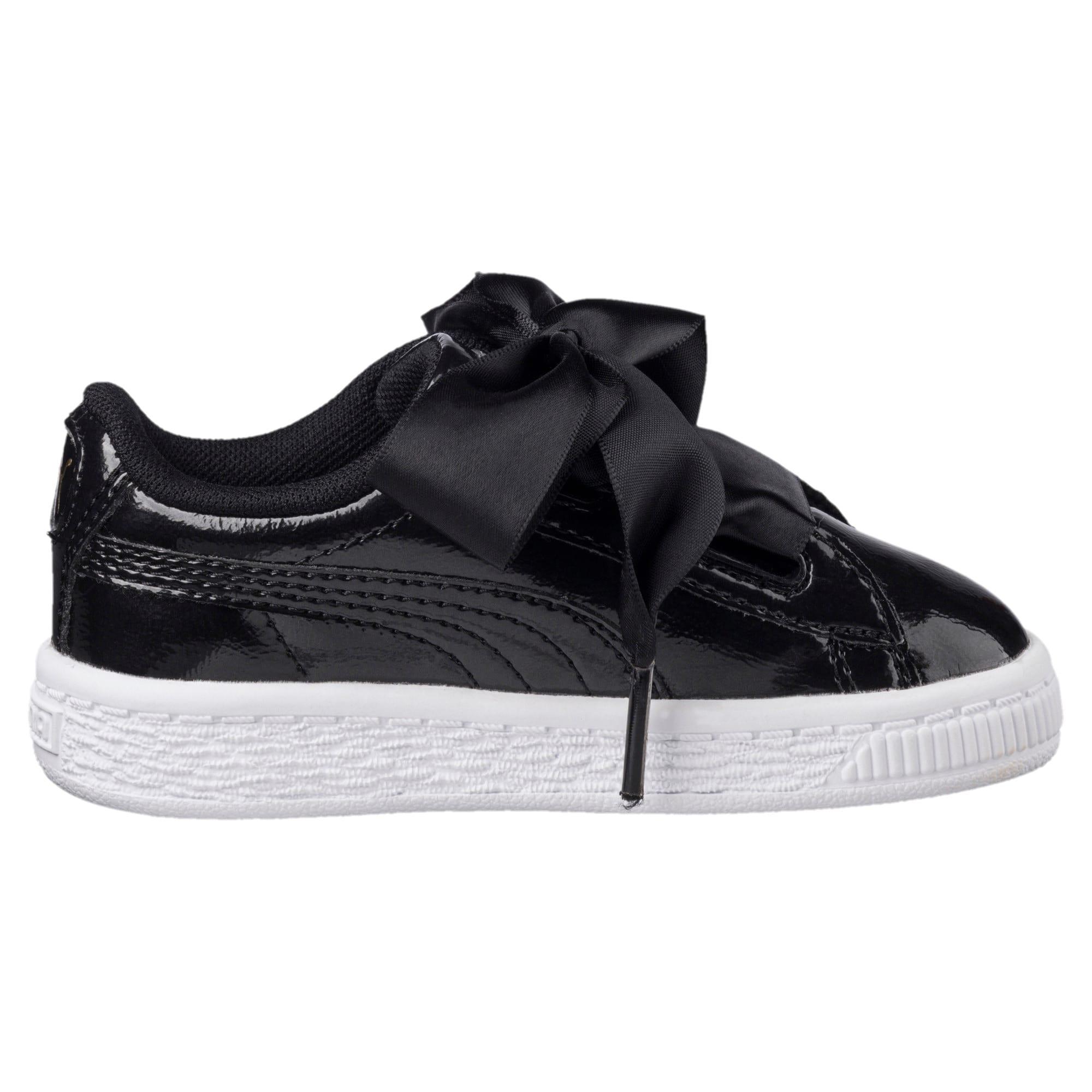 Thumbnail 3 of Basket Heart Glam Little Kids' Shoes, Puma Black-Puma Black, medium