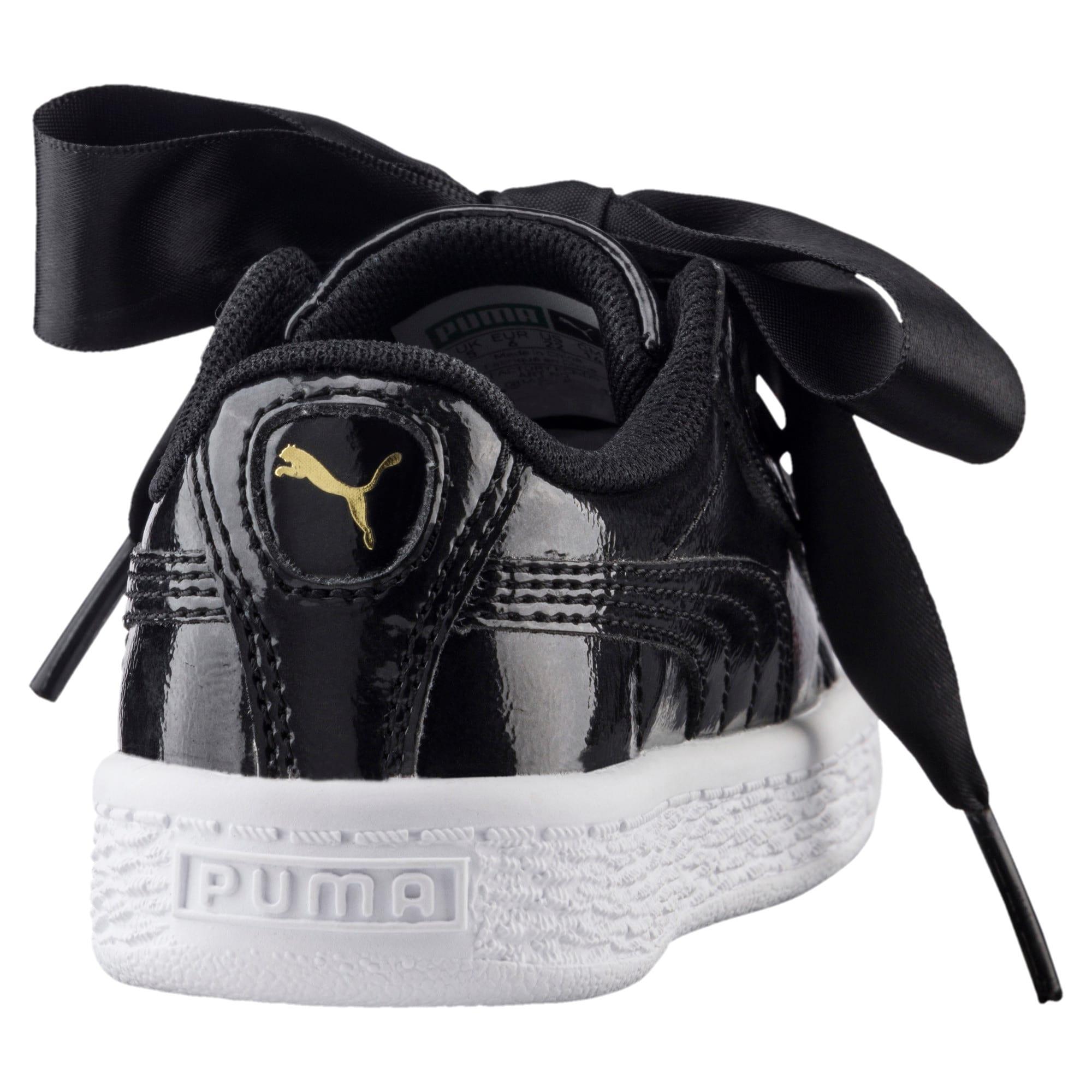 Thumbnail 4 of Basket Heart Glam Girls' Shoes, Puma Black-Puma Black, medium
