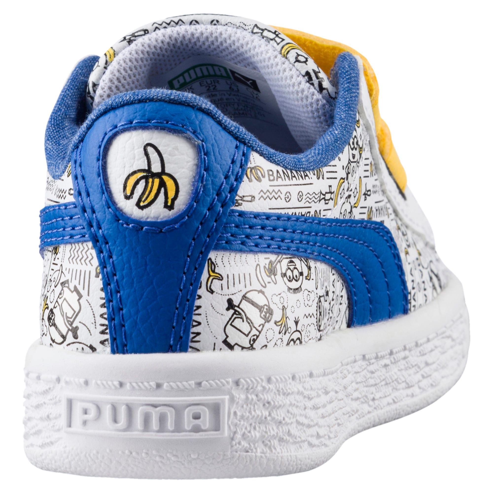 Thumbnail 4 of Minions Basket Little Kids' Shoes, Puma White-Lapis Blue, medium
