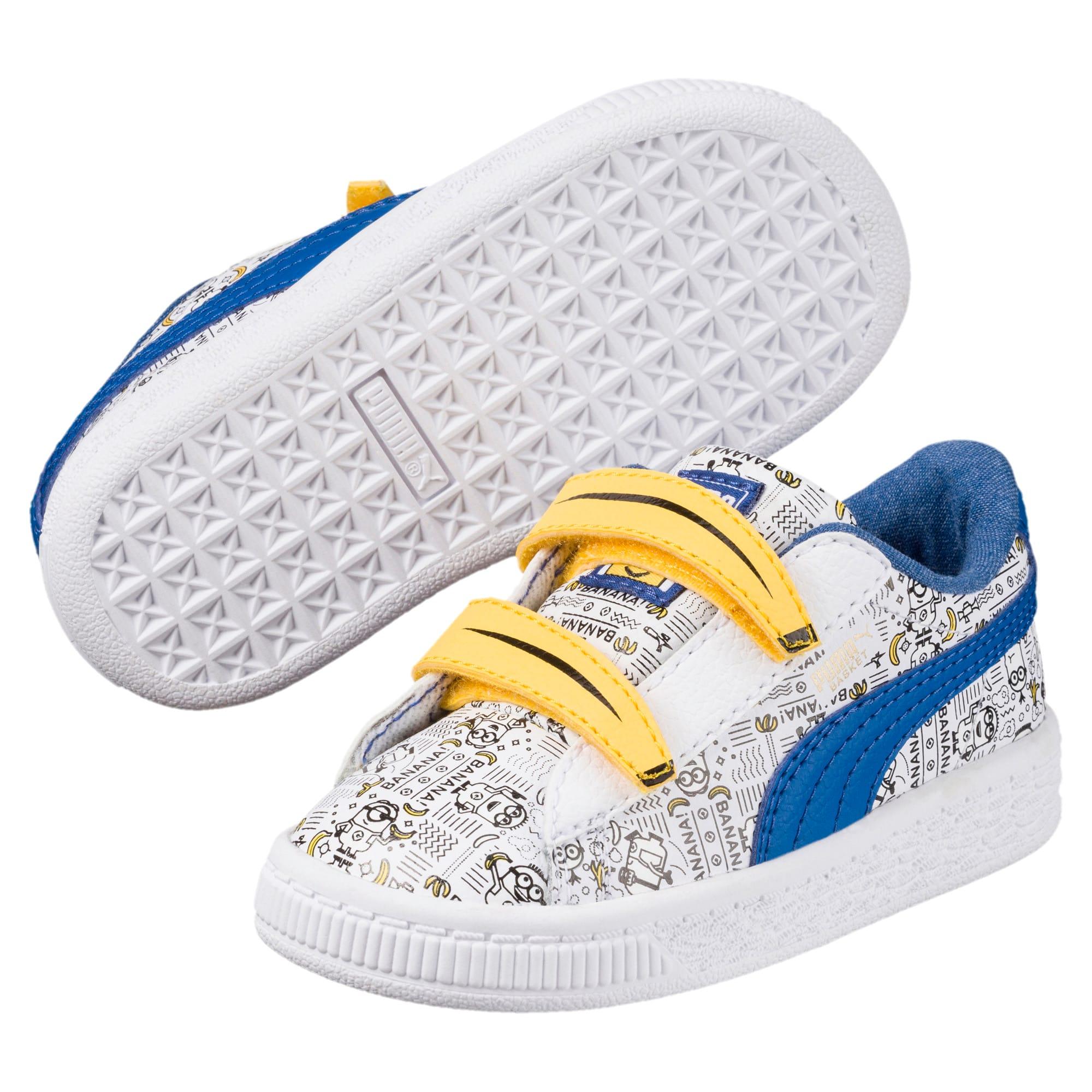 Thumbnail 2 of Minions Basket Little Kids' Shoes, Puma White-Lapis Blue, medium