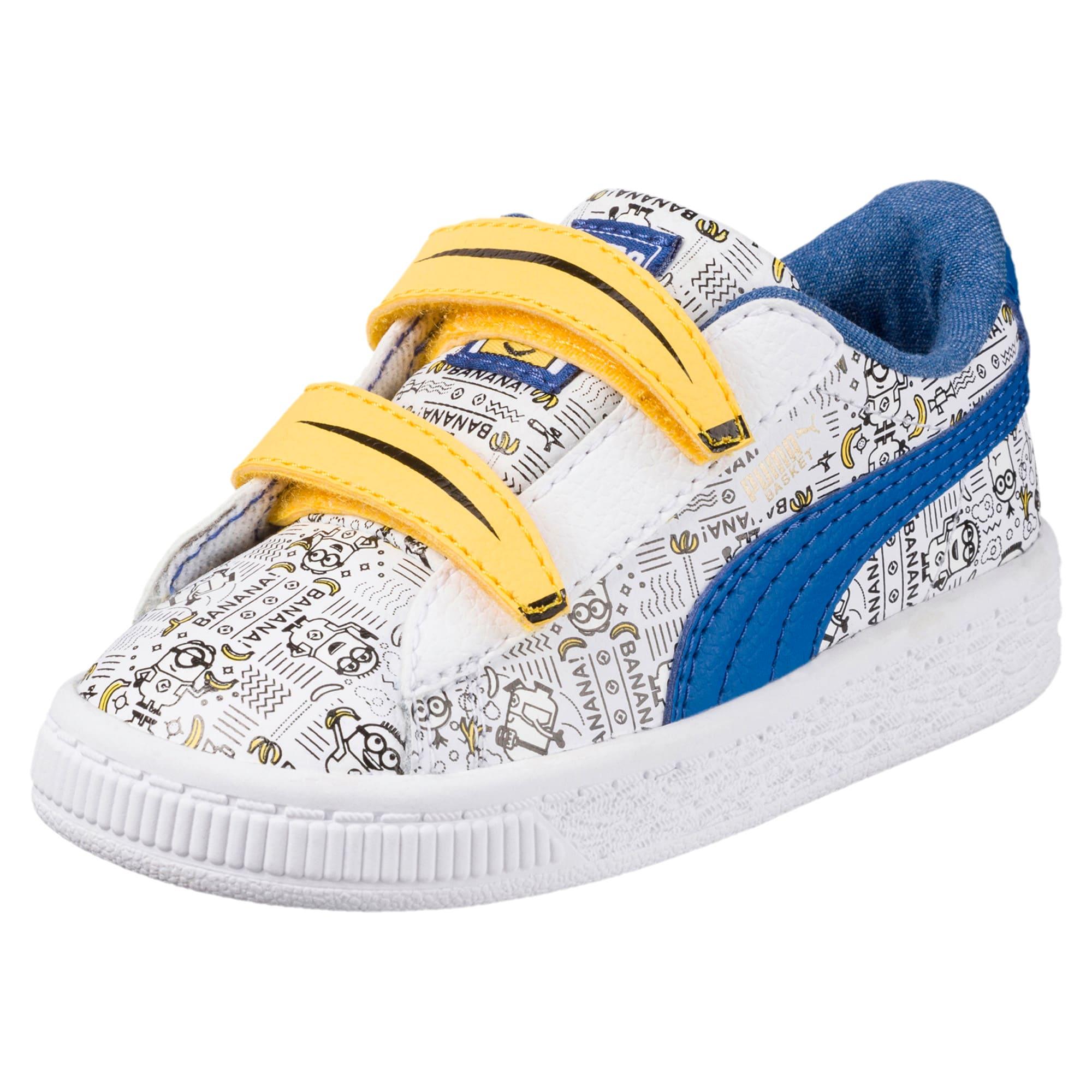 Thumbnail 1 of Minions Basket Little Kids' Shoes, Puma White-Lapis Blue, medium