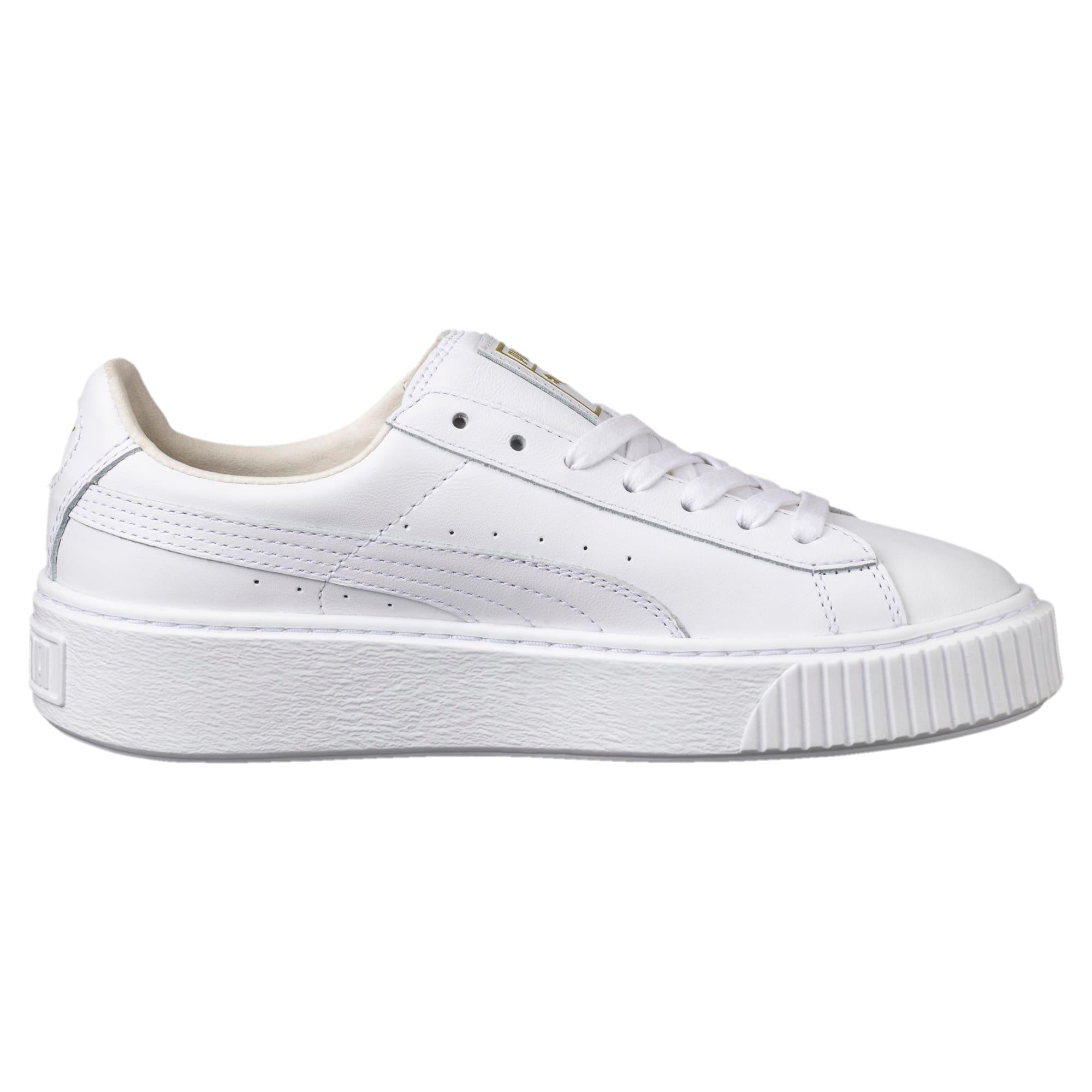 Thumbnail 3 of Basket Platform Core Women's Sneakers, Puma White-Gold, medium