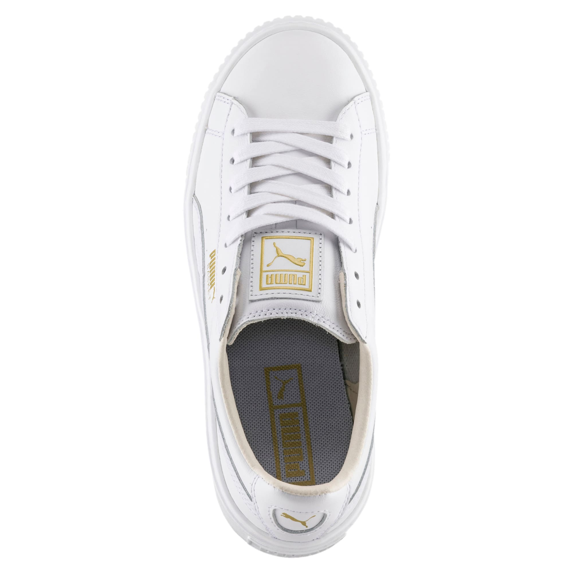 Thumbnail 5 of Basket Platform Core Women's Sneakers, Puma White-Gold, medium