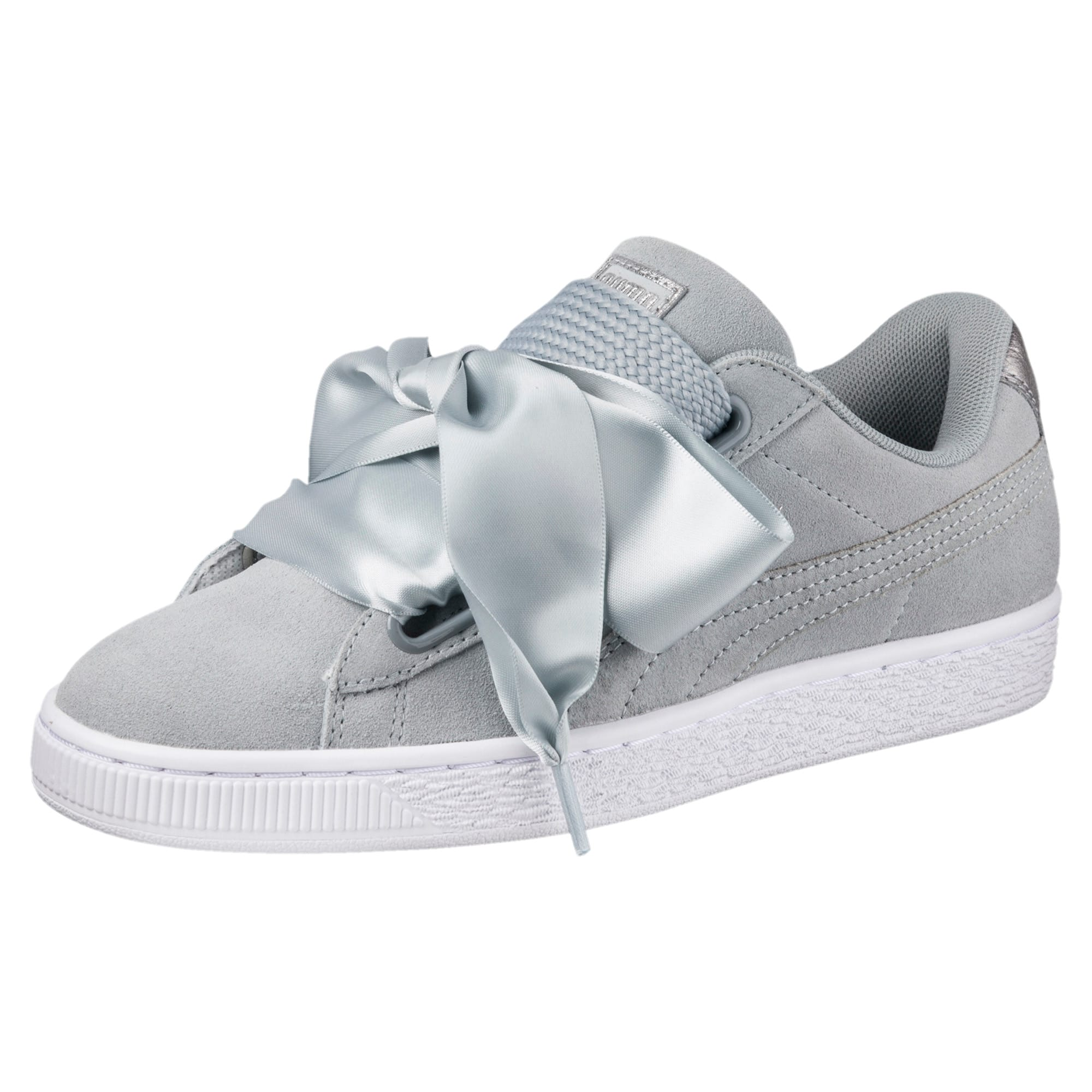 PUMA BASKET SUEDE Heart Metallic Safari White Women's Shoes 364083 01 Size 9