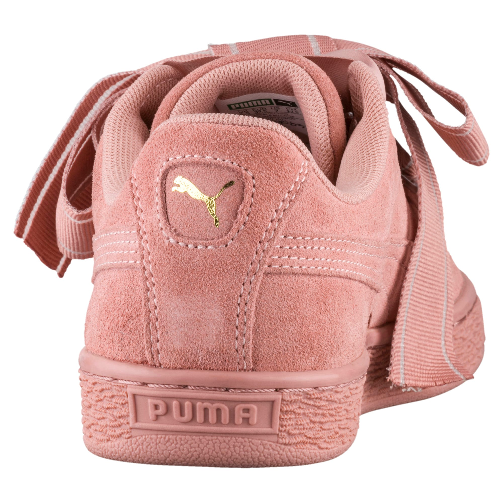Details about New Womens Puma Pink Suede Heart Satin II Trainers Court Lace Up