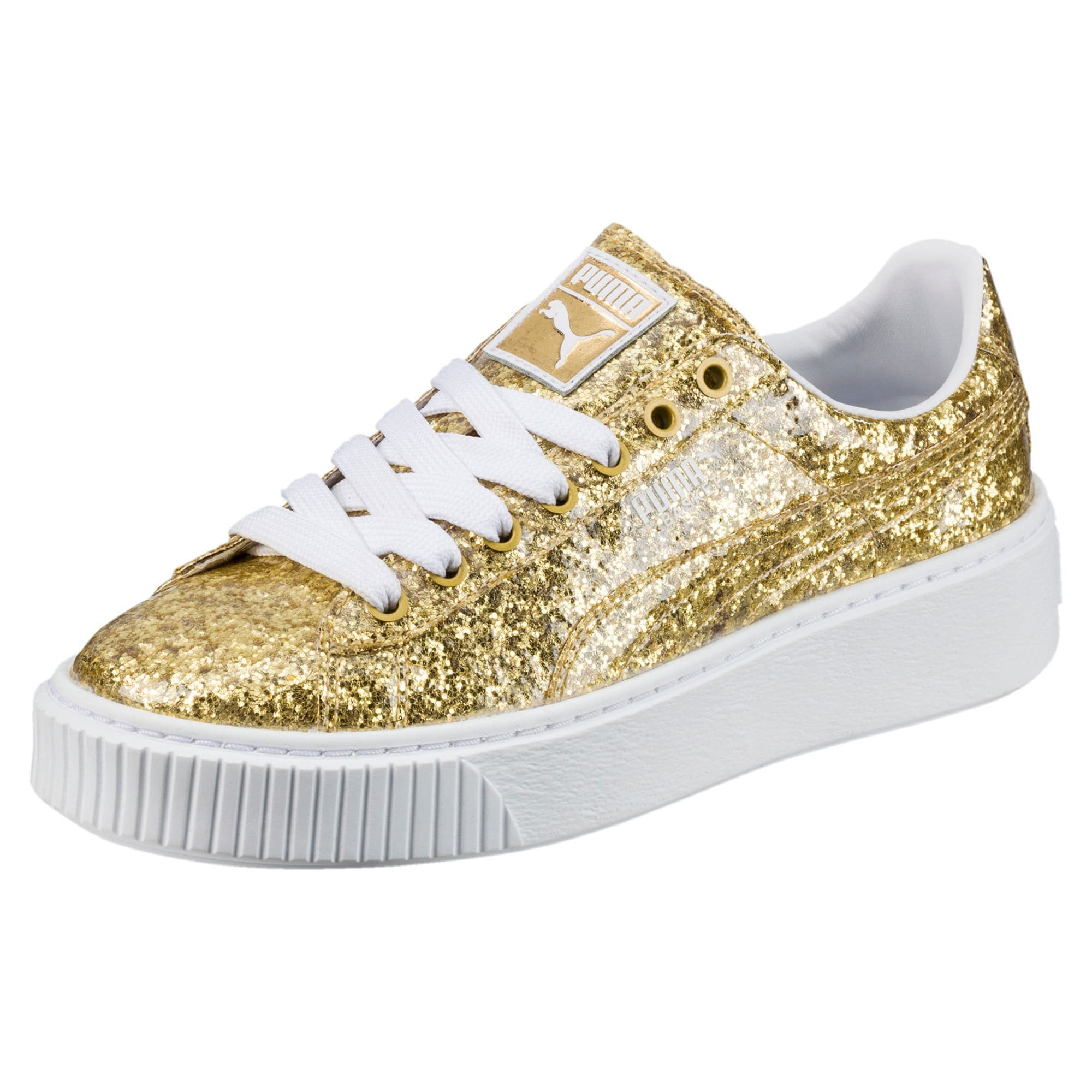Details about Puma Bling sneakers. Glitter leather upper and platform sole. Women's 9.5